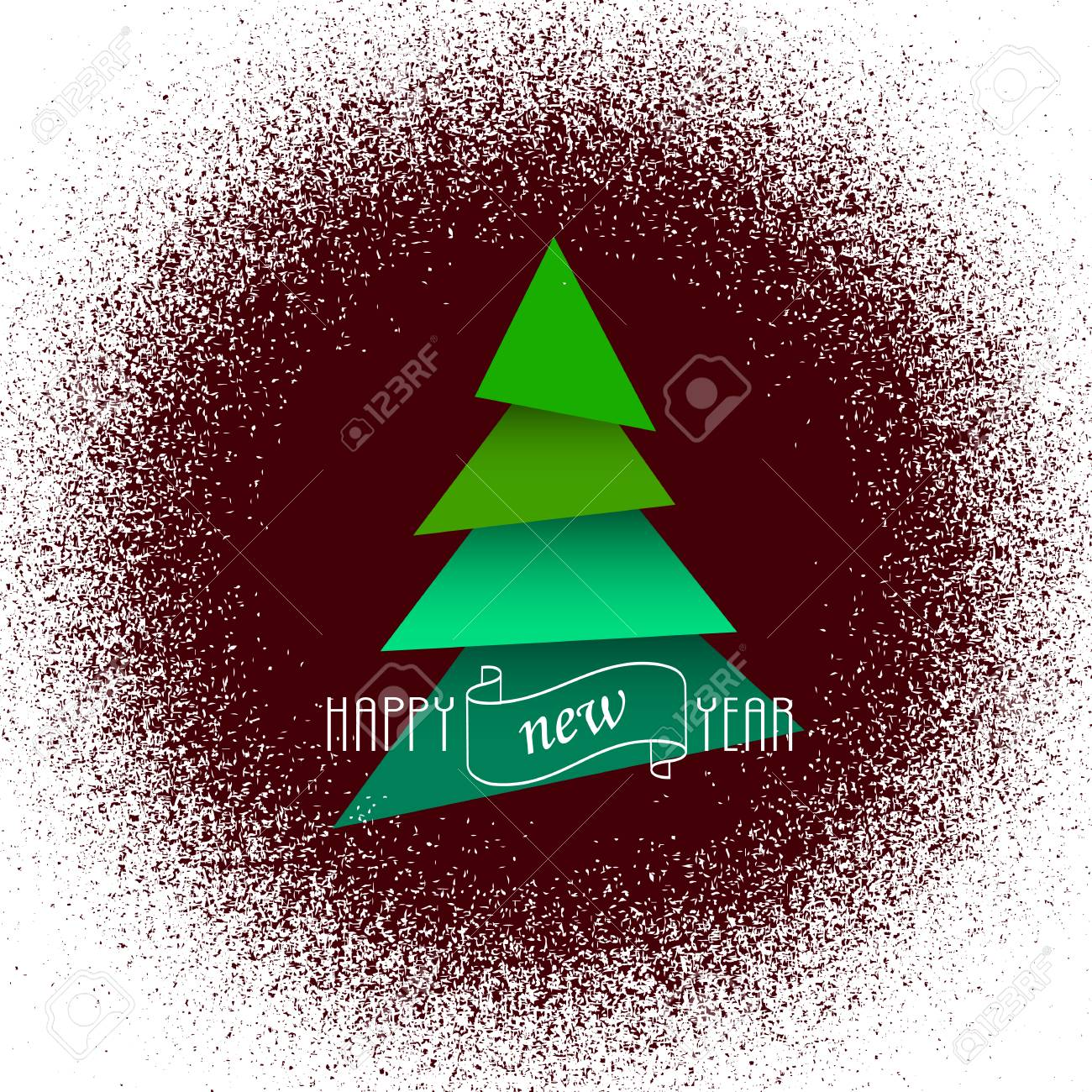 Christmas Tree Spray.Green Paper Christmas Tree In Spray Paint Effect Frame Winter