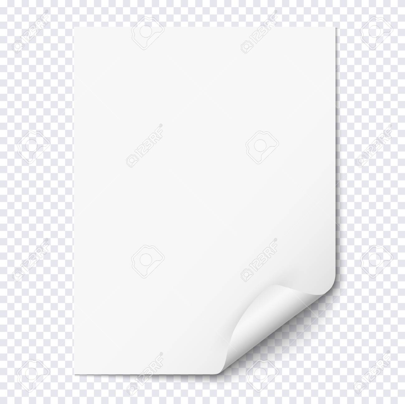 White Empty Paper Sheet With Curled Corner Realistic Blank Folded