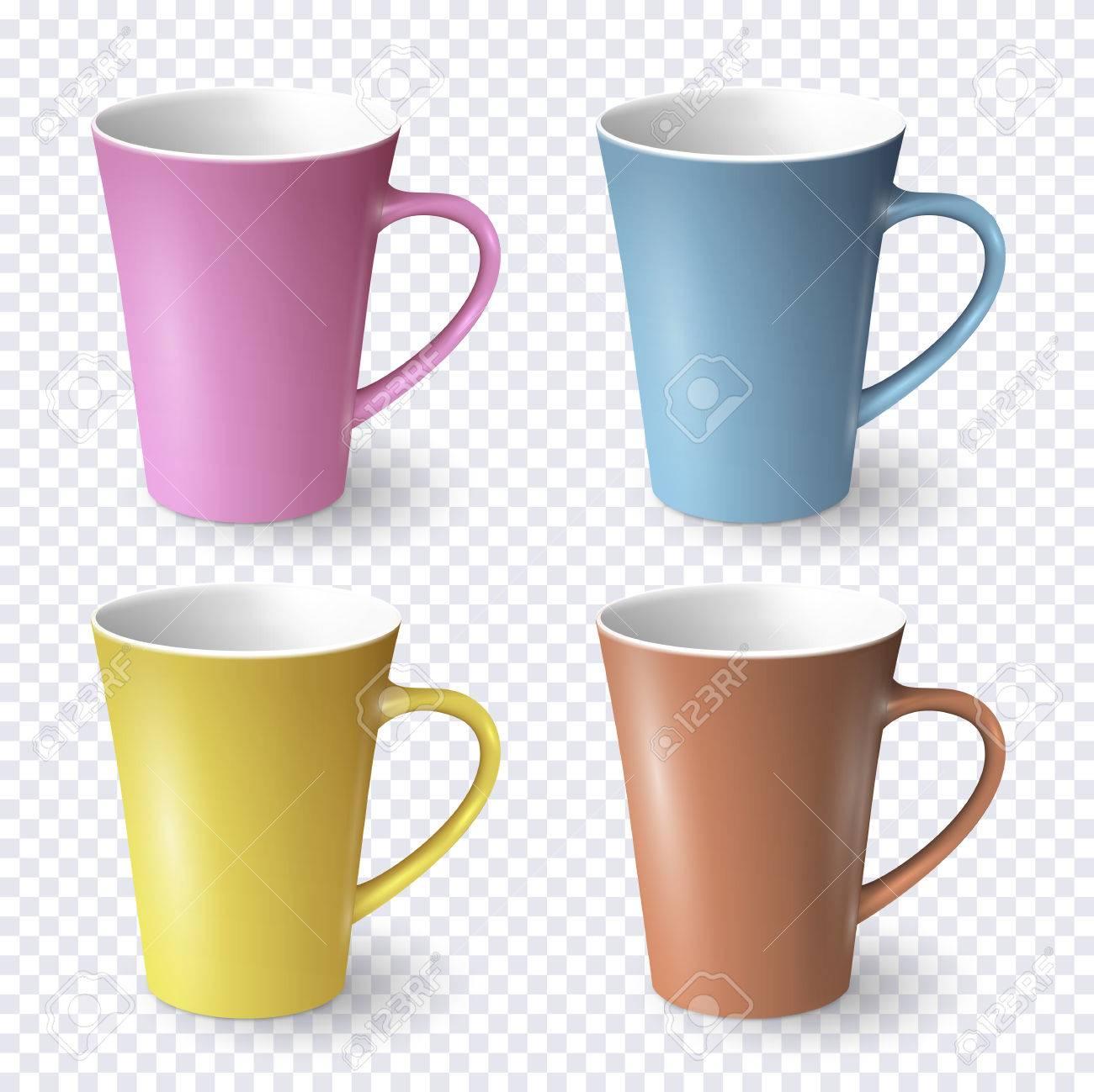 Satz Realistische Kaffeetassen Der Farbe Lokalisiert. Vektor Vorlage ...