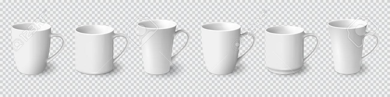 set of realistic white coffee mugs isolated on transparent