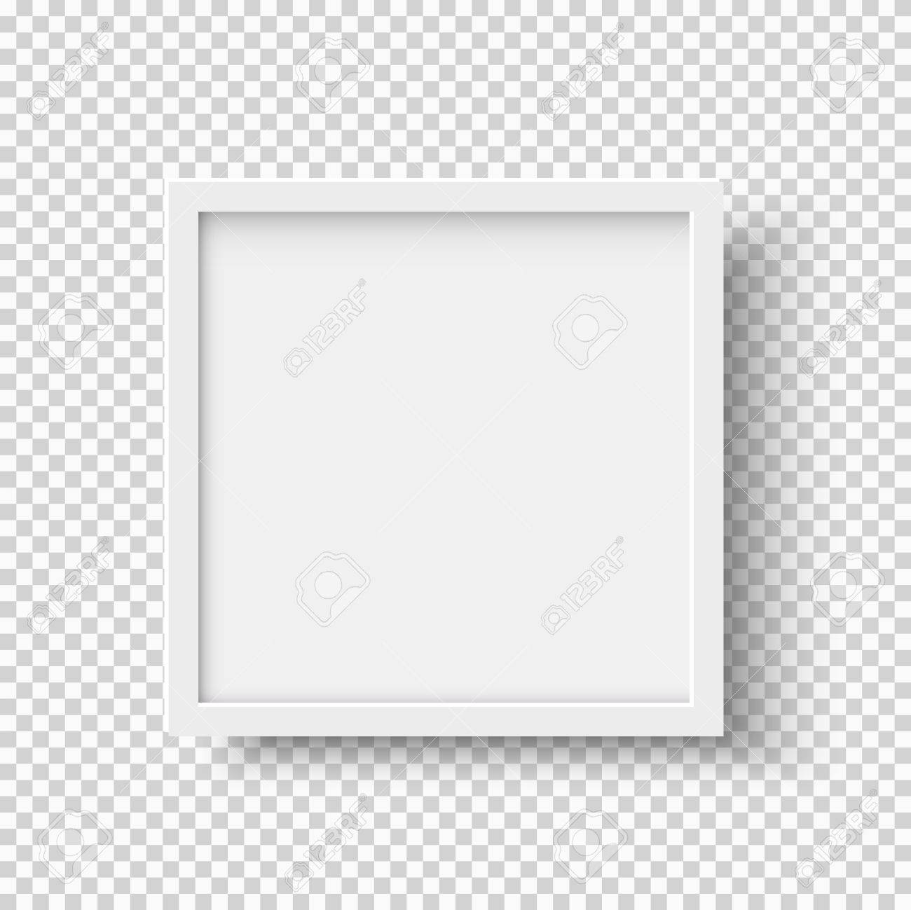 White Realistic Square Empty Picture Frame On Transparent Background ...