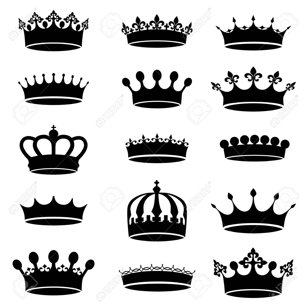 Collection Of Vector Vintage Antique Crown Simple Black And