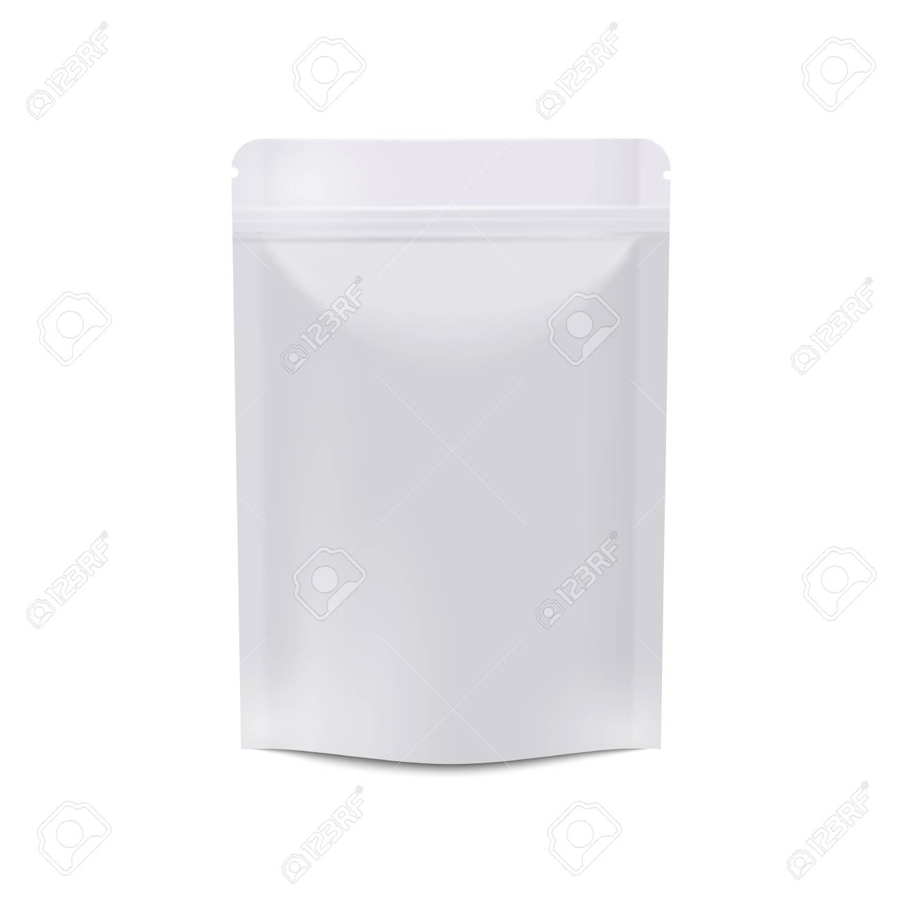 Realistic White Blank Food Packaging. Vertical Sealed Empty Bag ...