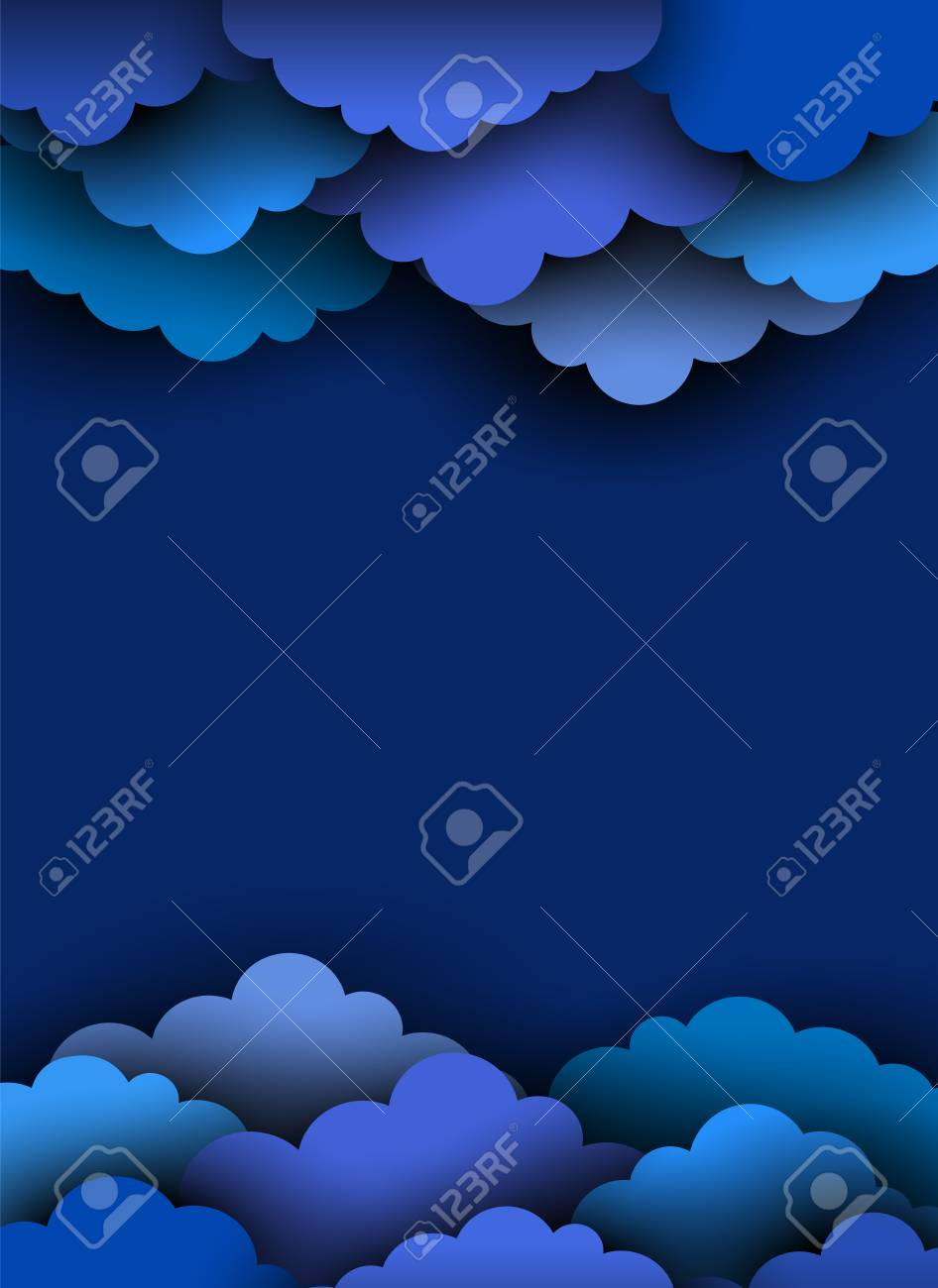 Blue Paper Cut Clouds On Dark Background Border For Design With