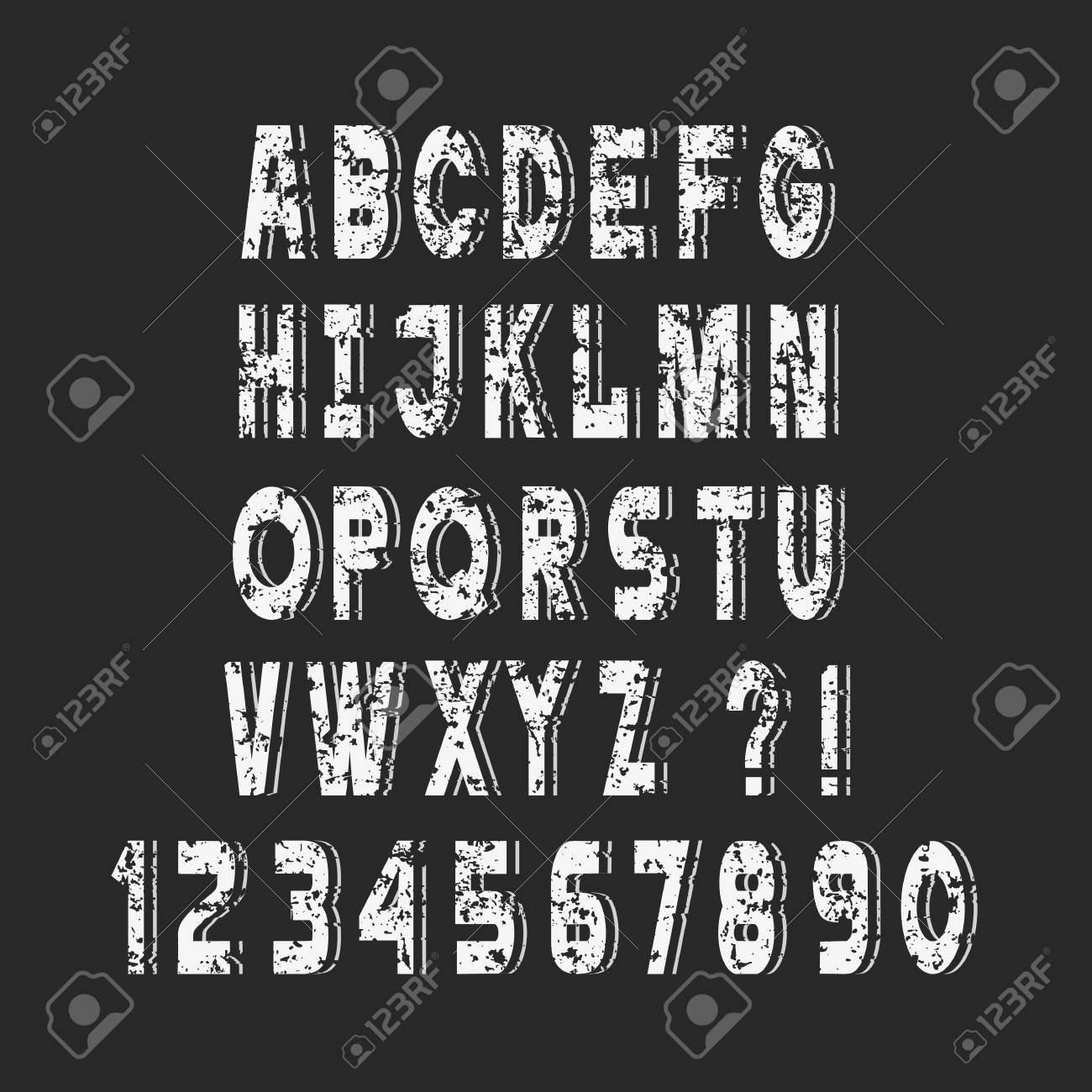 Stylish White Grunge alphabet letters and numbers,vector set,chalk