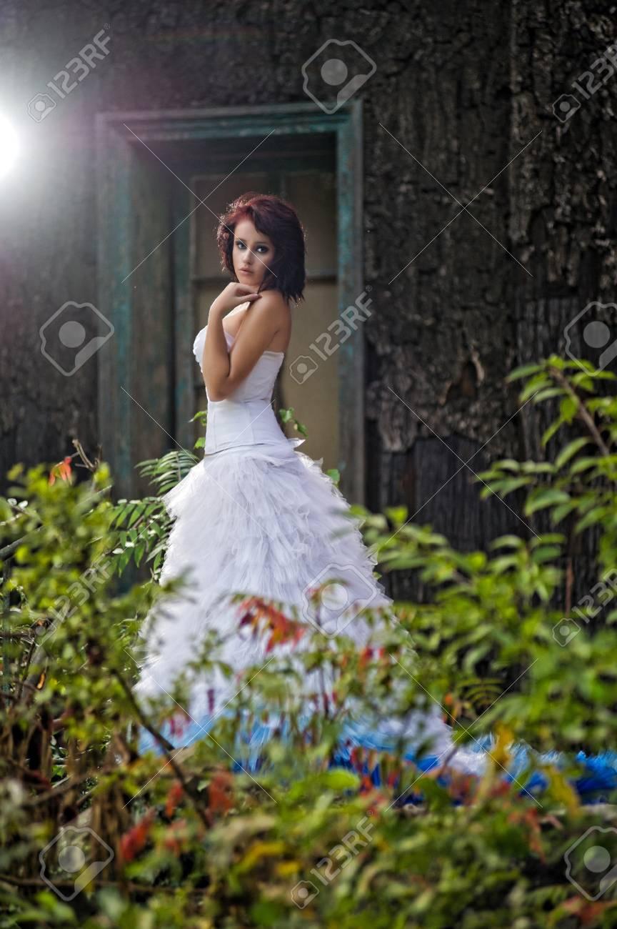 Young woman wearing wedding blue dress Stock Photo - 14808733