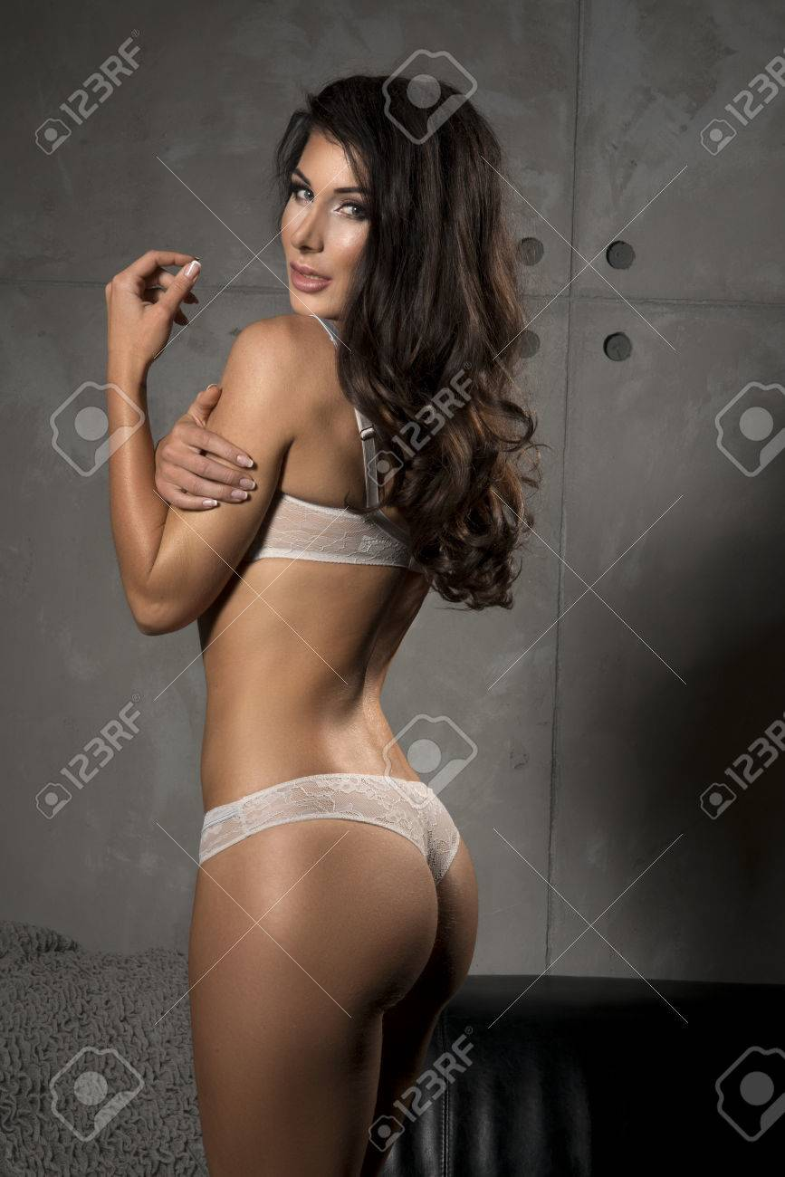 5aea6559d Brunette Sexy Woman Posing In Grey Lingerie