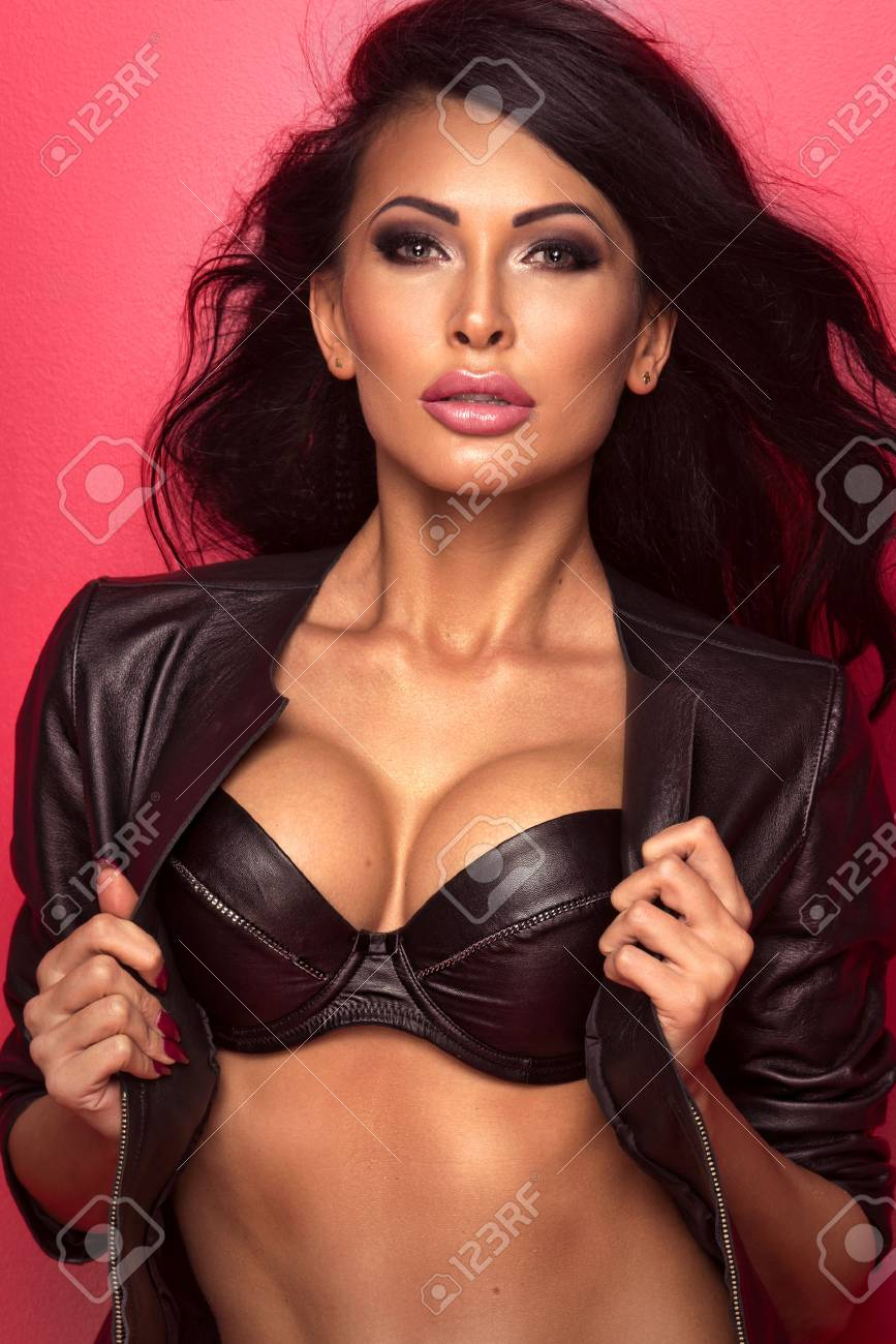 more photos detailed pictures usa cheap sale Sexy beautiful brunette woman in black leather lingerie posing..