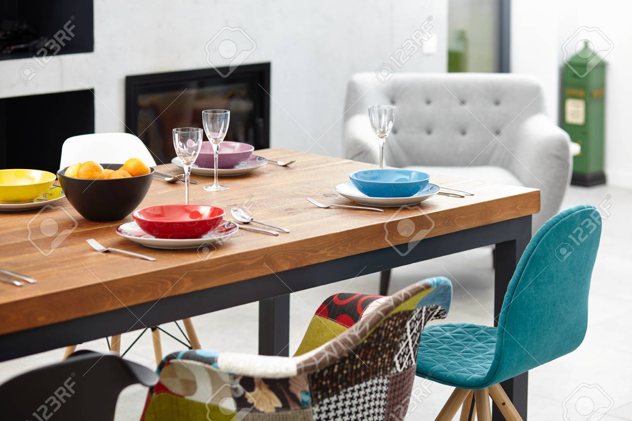 Modern Dining Room With Dining Table Small Depth Of Field Stock Photo Picture And Royalty Free Image Image 62330079