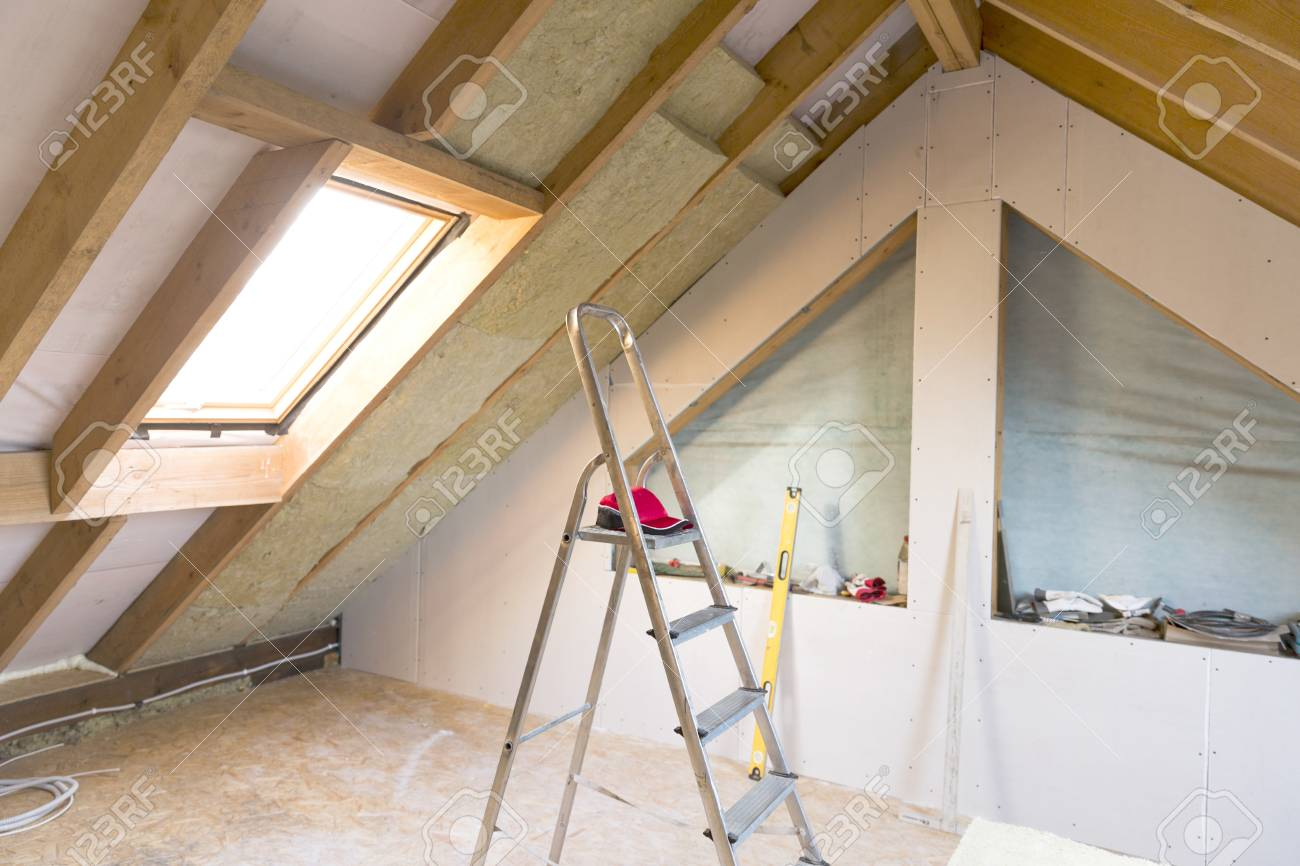 Attic Renovation And Thermal Insulation With Mineral Rock Wool
