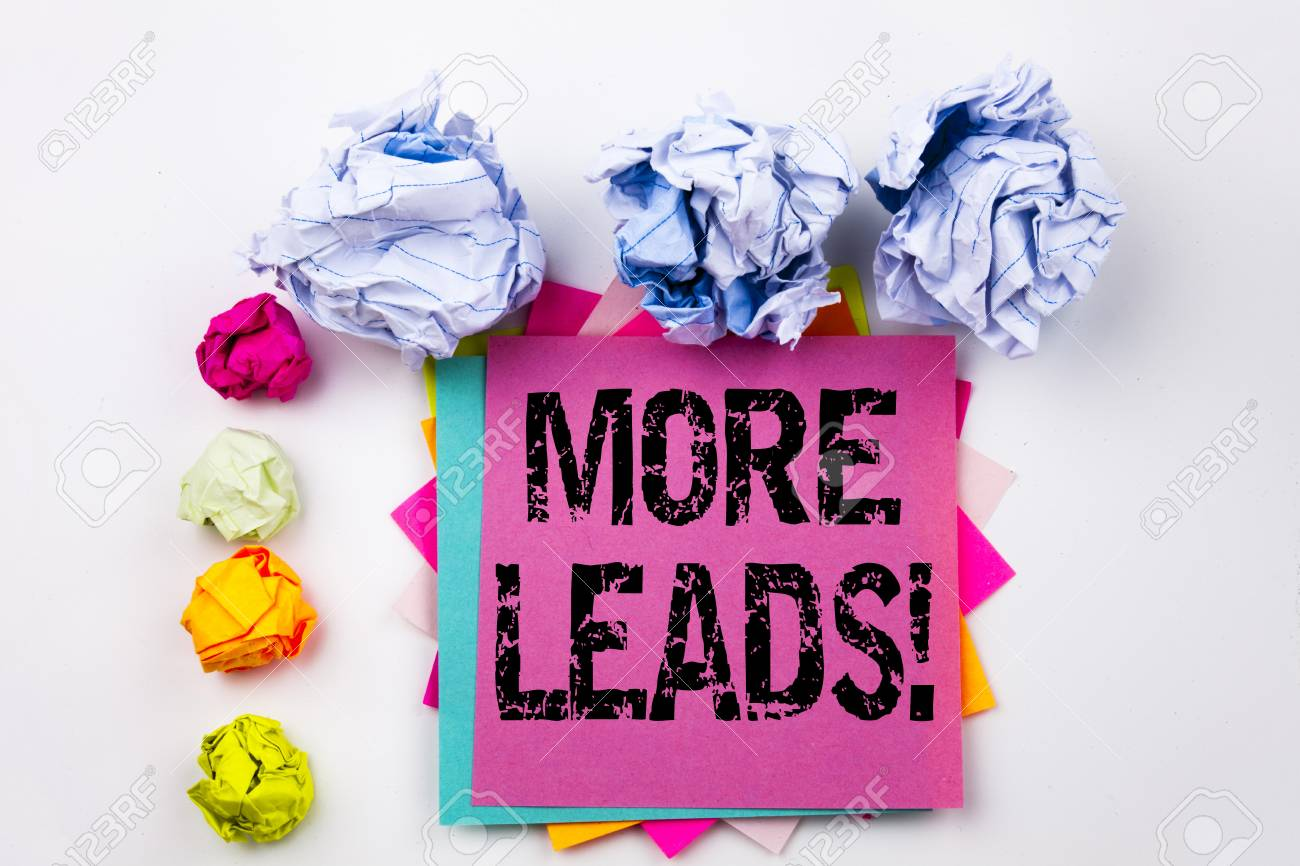 Writing text showing More Leads written on sticky note in office with screw paper balls. Business concept for Get More Leads Consumer Marketing on the white isolated background. - 90323362