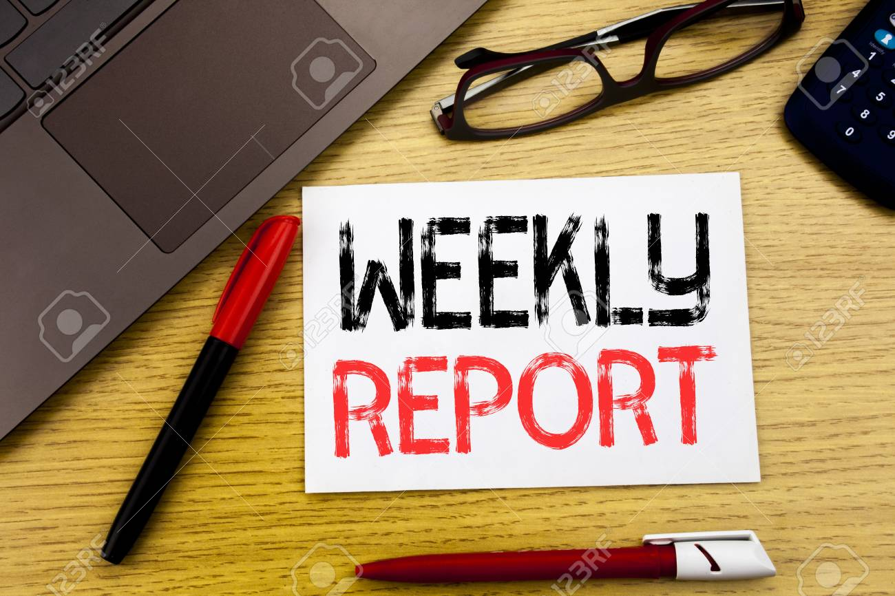 Conceptual Hand Writing Text Showing Weekly Report. Business.. Stock ...