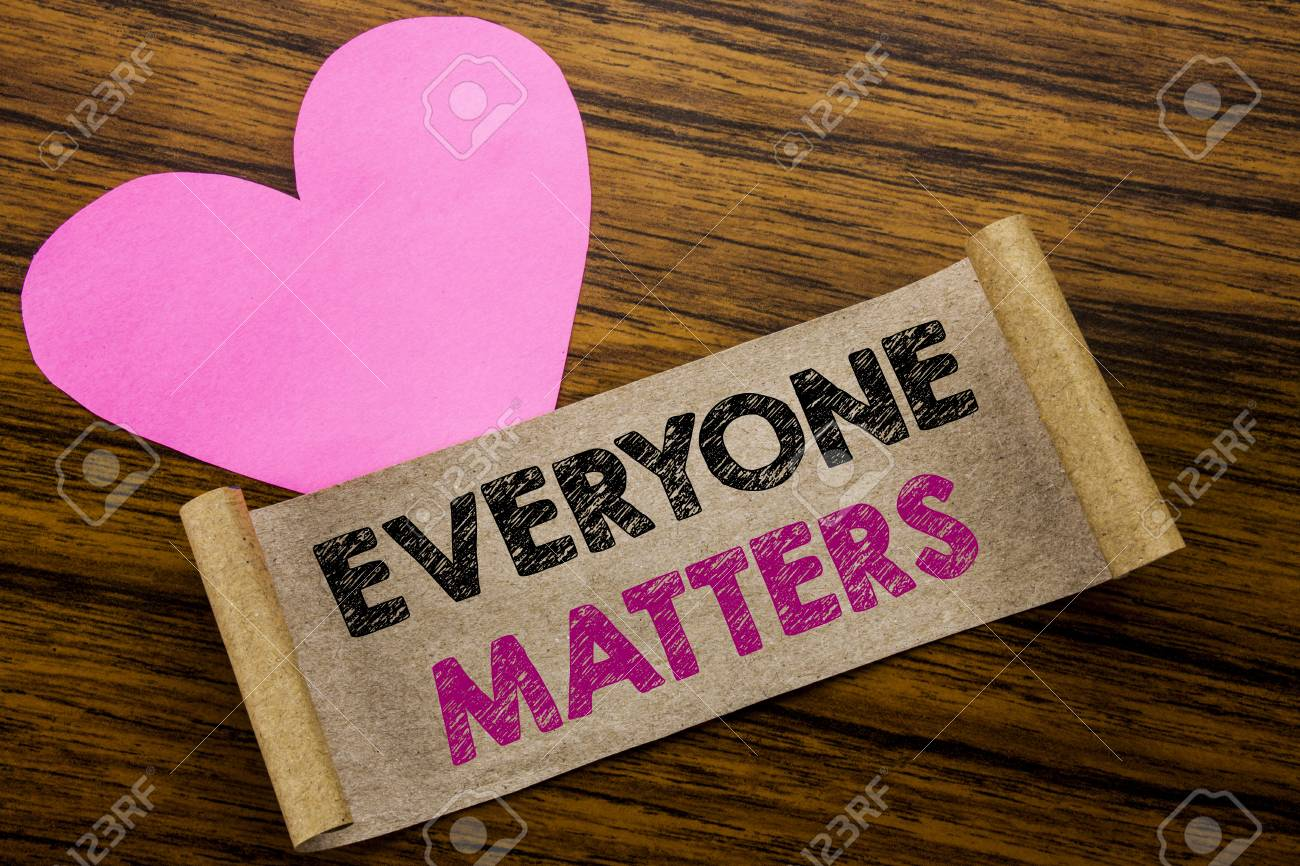 Writing text showing Everyone Matters. Business concept for Equality Respect written on sticky note paper, wooden background. With pink heart meaning love adoration. - 96785446