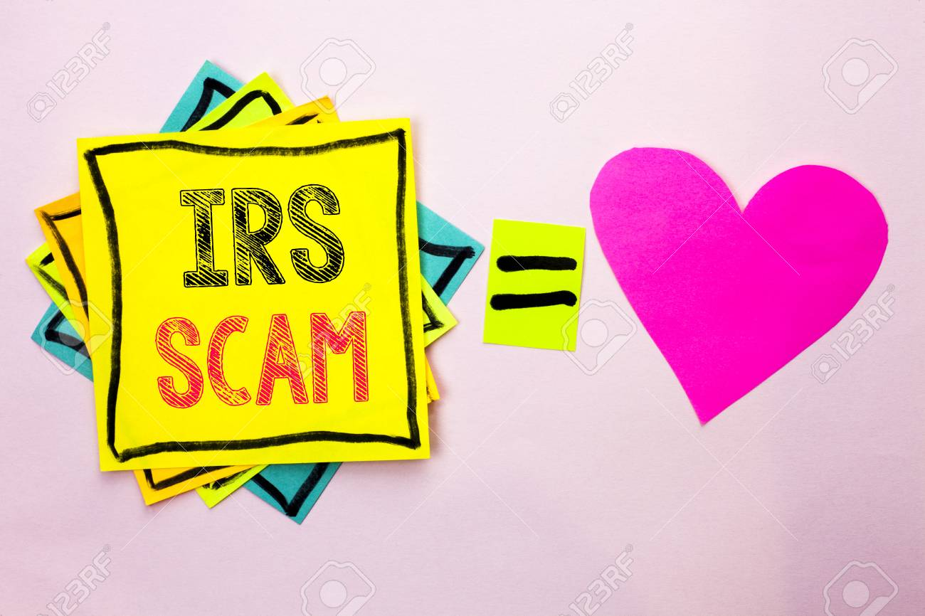 Text sign showing Irs Scam. Conceptual photo Warning Scam Fraud..