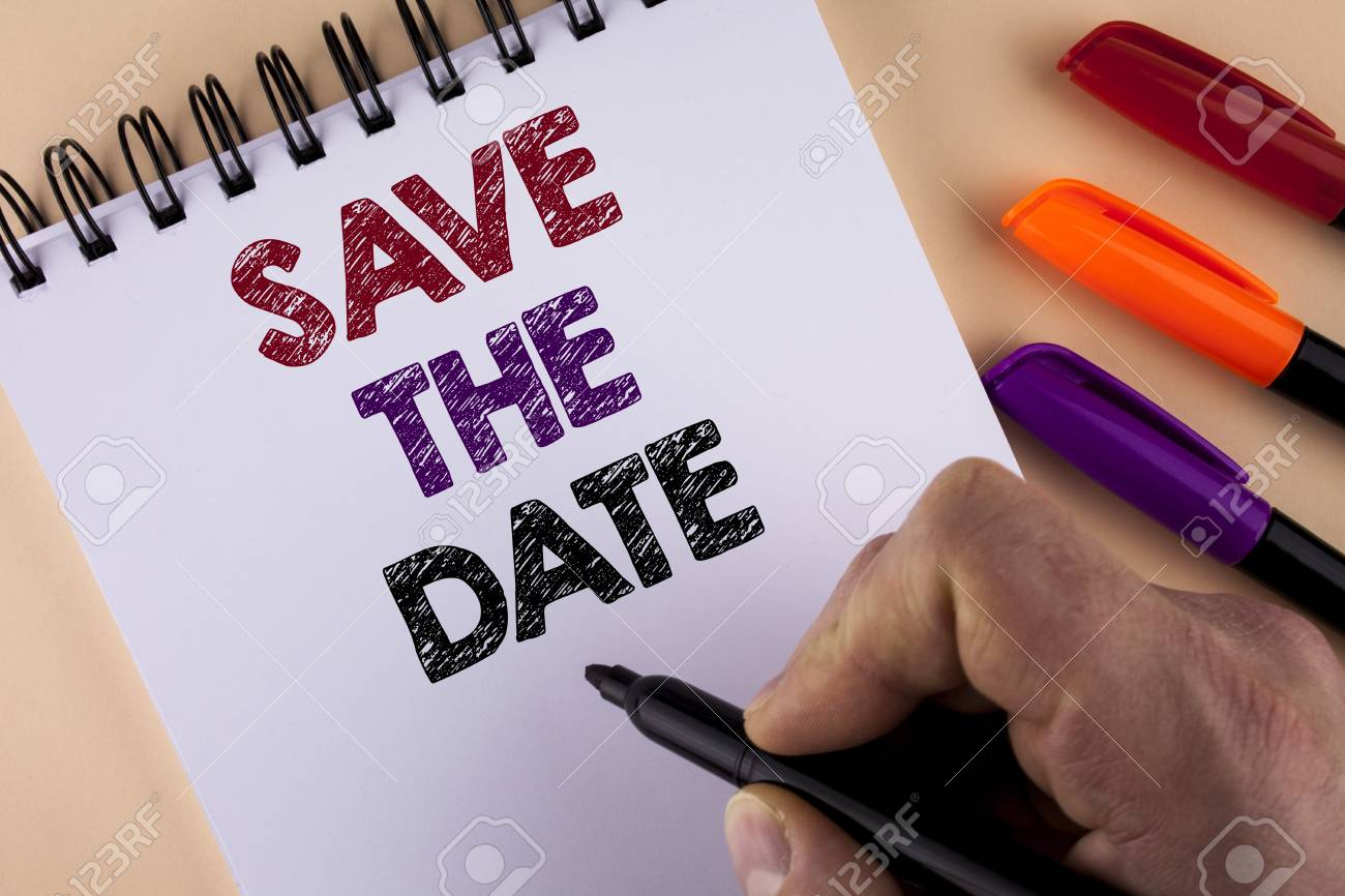 word writing text save the date business concept for organizing