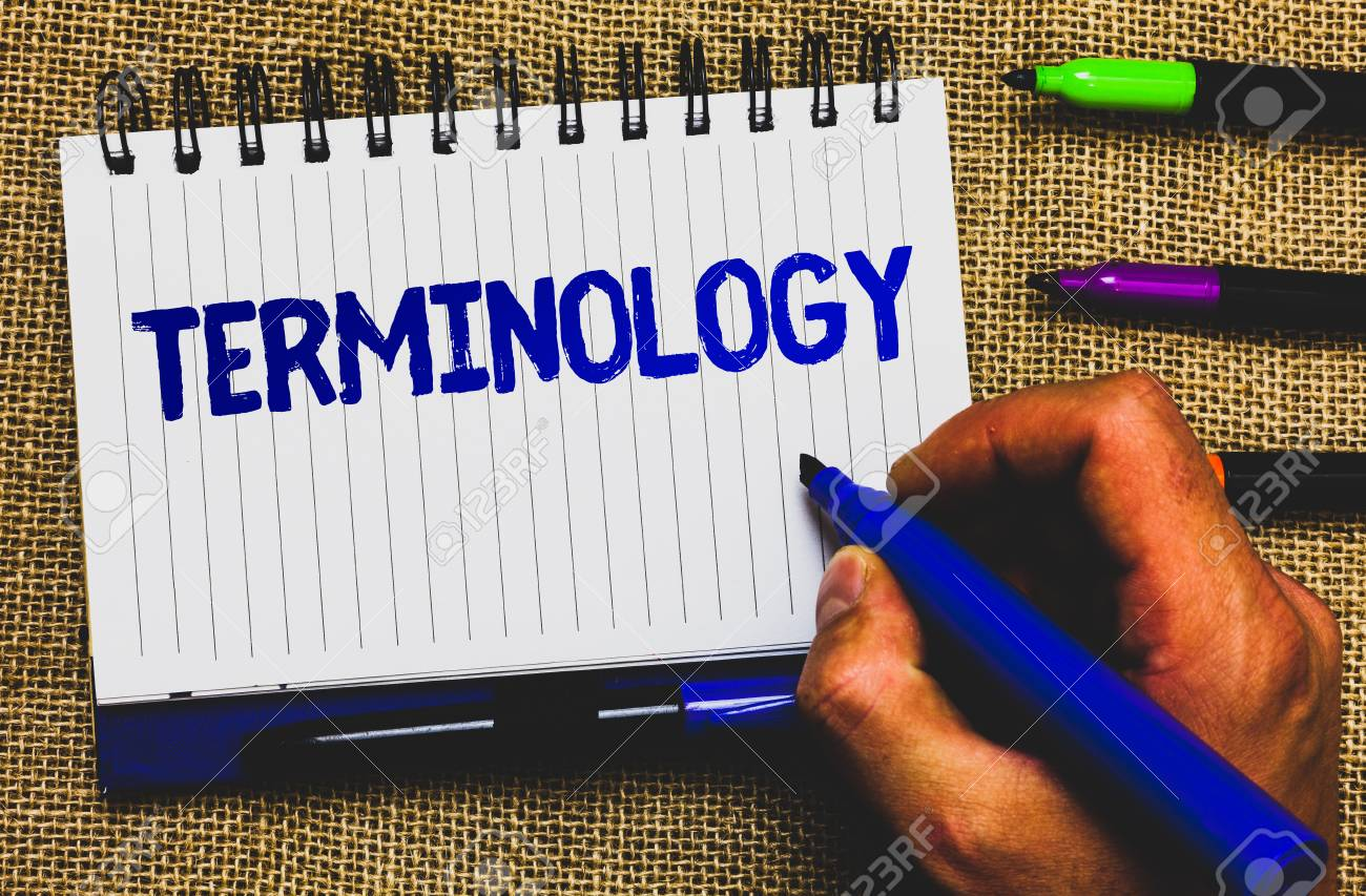 Conceptual hand writing showing Terminology. Business photo showcasing Collection of terms used by different profession study industry Notepad marker creative ideas mat black shadow white papers - 104113876