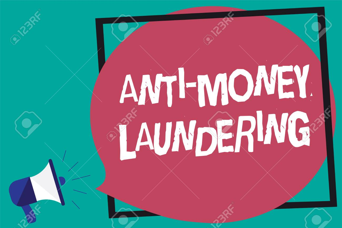 handwriting text anti money laundering concept meaning stop stock