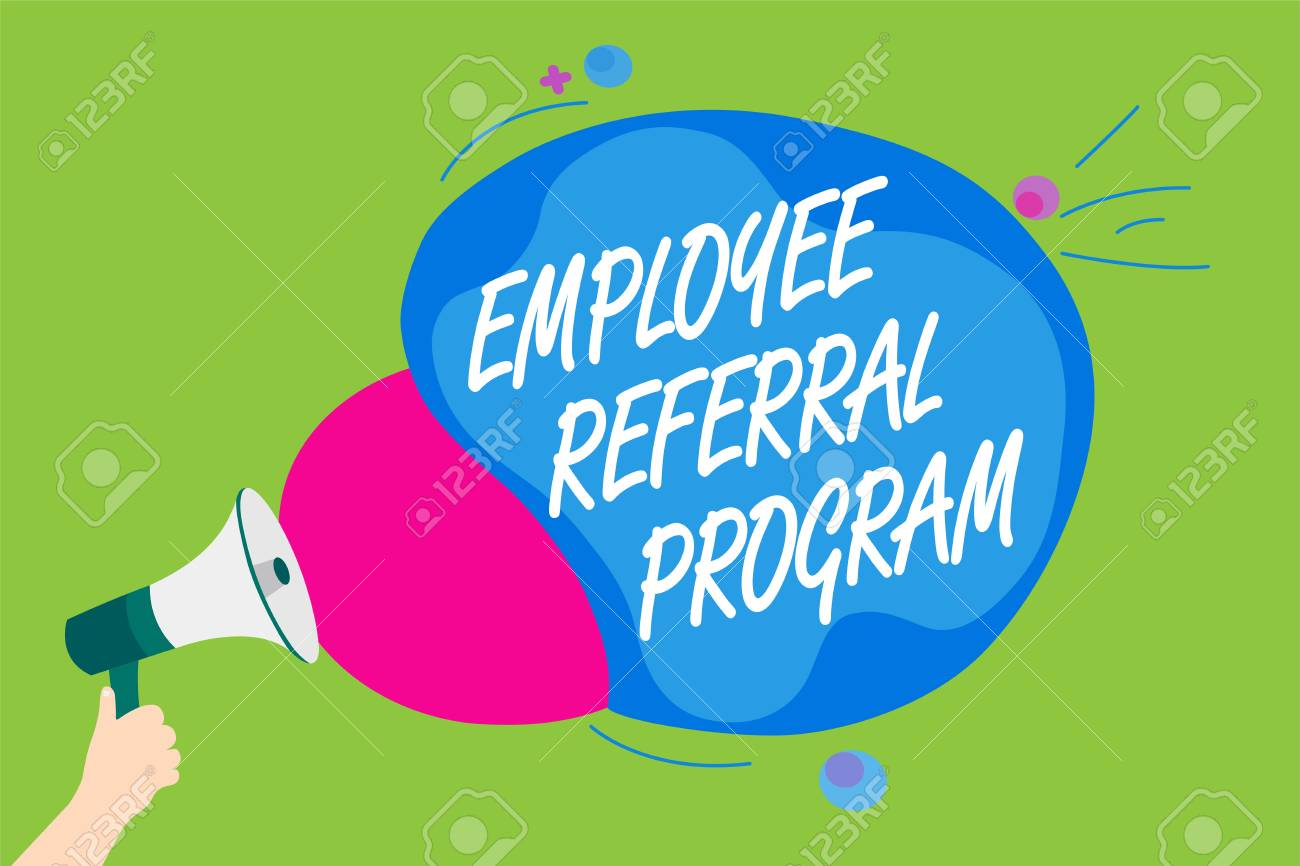 Handwriting text Employee Referral Program  Concept meaning employees