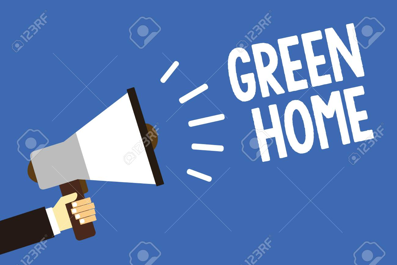 Handwriting Text Writing Green Home. Concept Meaning An Area.. Stock ...