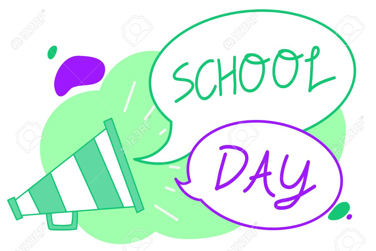 Handwriting text School Day  Concept meaning starts from seven