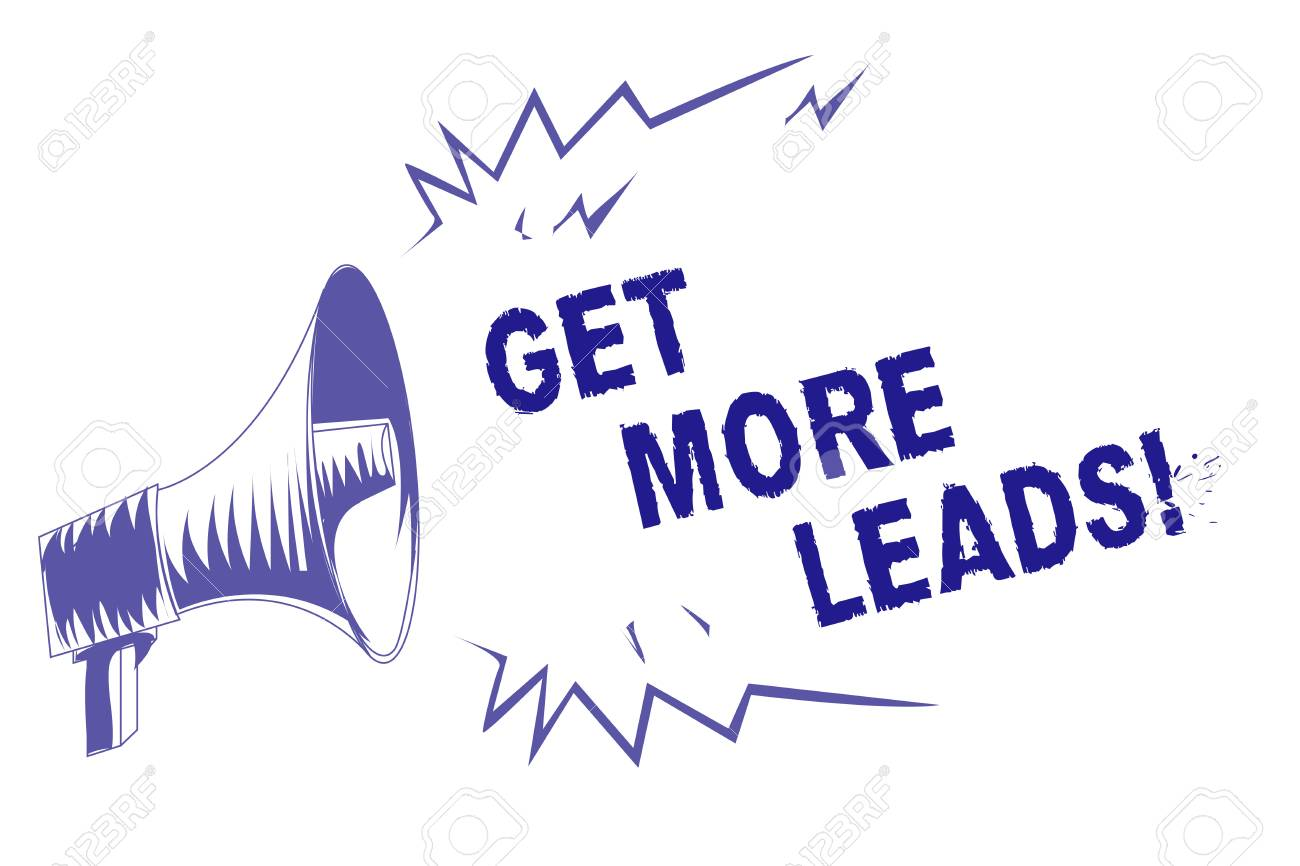 Word writing text Get More Leads. Business concept for Look for new clients customers followers Marketing strategy Purple megaphone loudspeaker important message screaming speaking loud - 106623369
