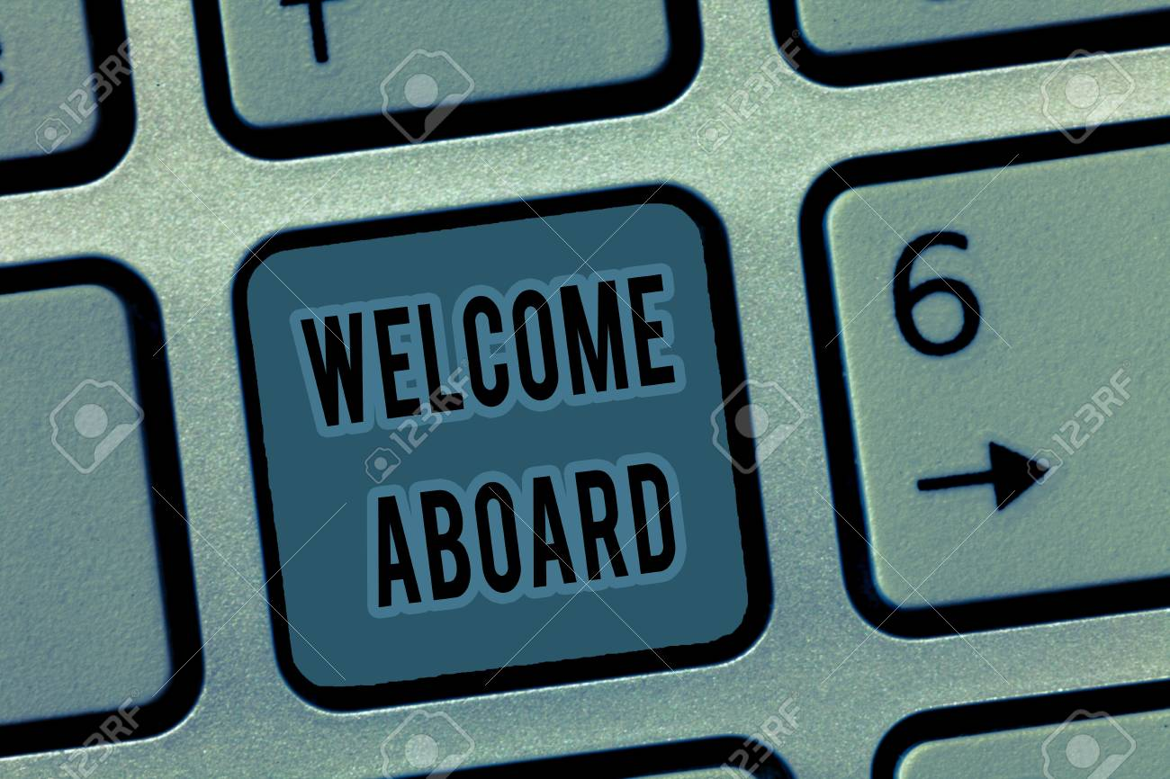 Handwriting text welcome aboard concept meaning expression of handwriting text welcome aboard concept meaning expression of greetings to a person whose arrived is m4hsunfo