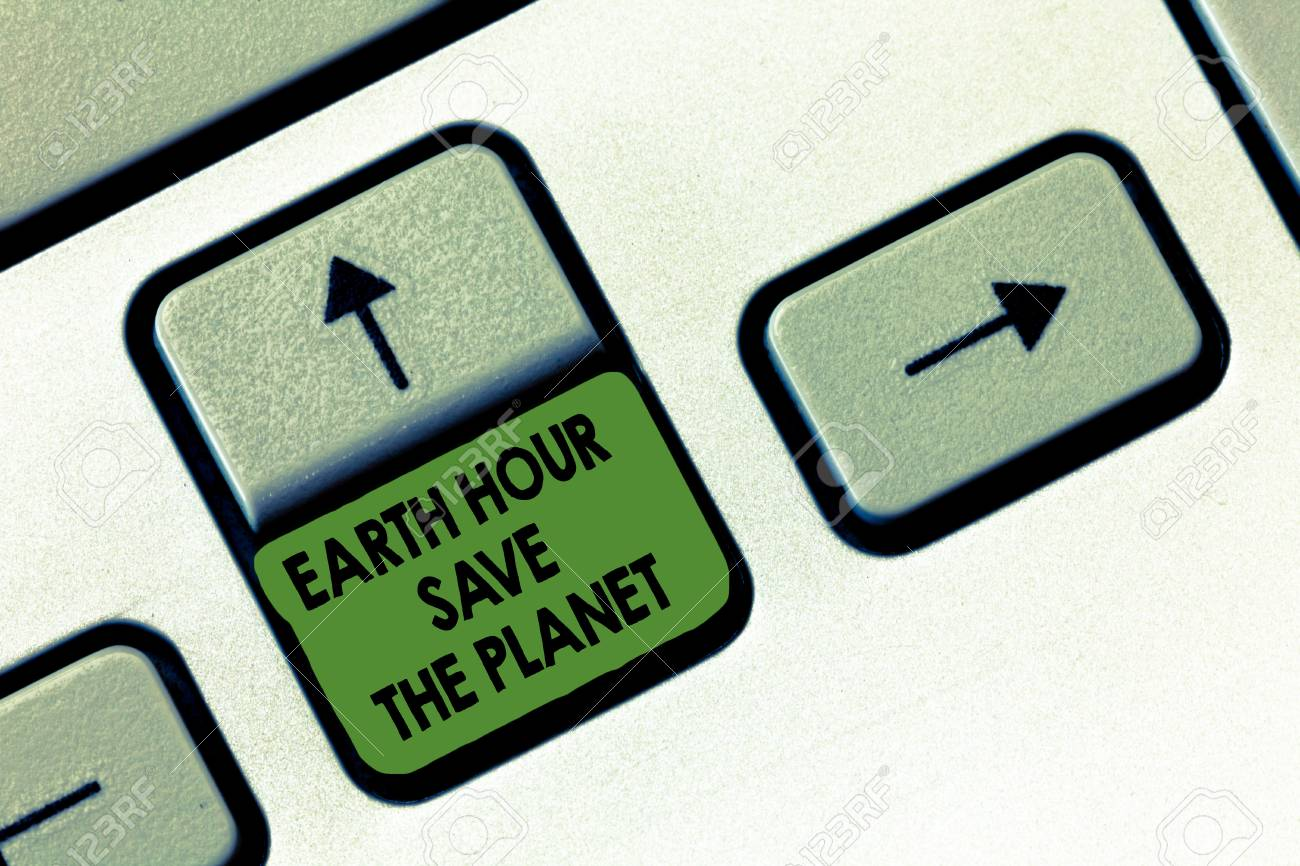 Handwriting Text Writing Earth Hour Save The Planet Concept Stock