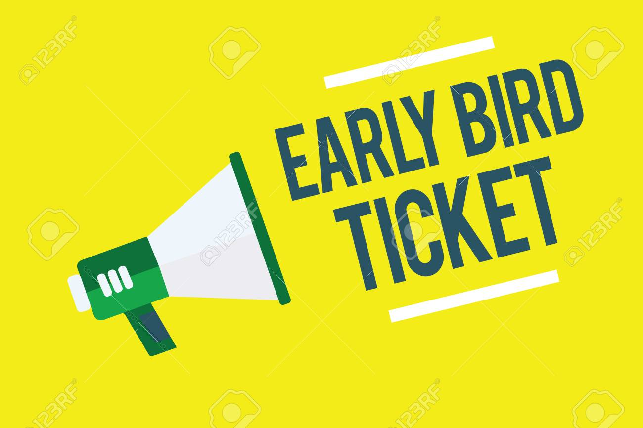 Writing note showing Early Bird Ticket. Business photo showcasing Buying a ticket before it go out for sale in regular price Megaphone yellow background important message speaking loud - 111626717