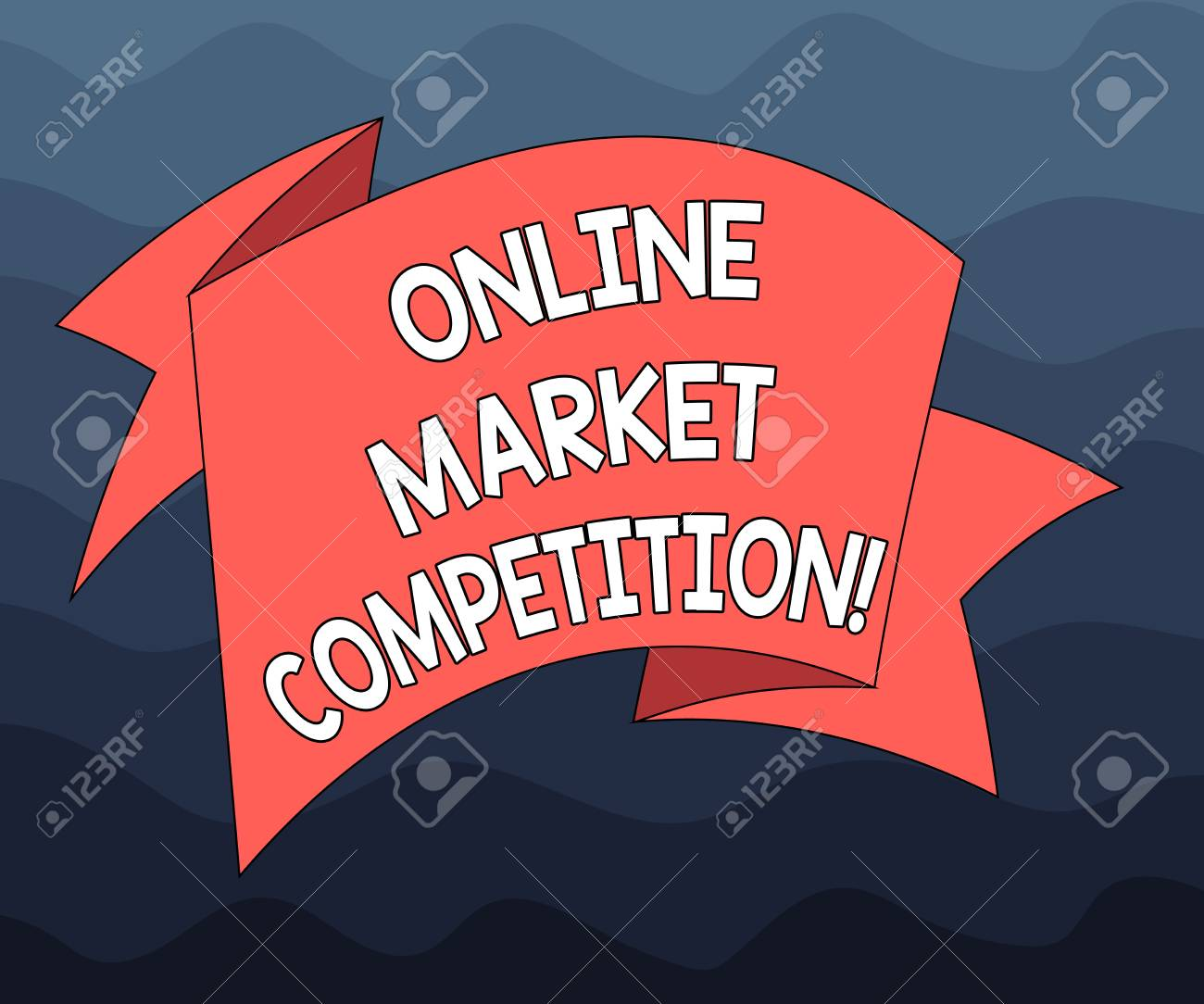 5ccb35ad4e Stock Photo - Writing note showing Online Market Competition. Business  photo showcasing Rivalry between companies selling same product Folded 3D  Ribbon ...