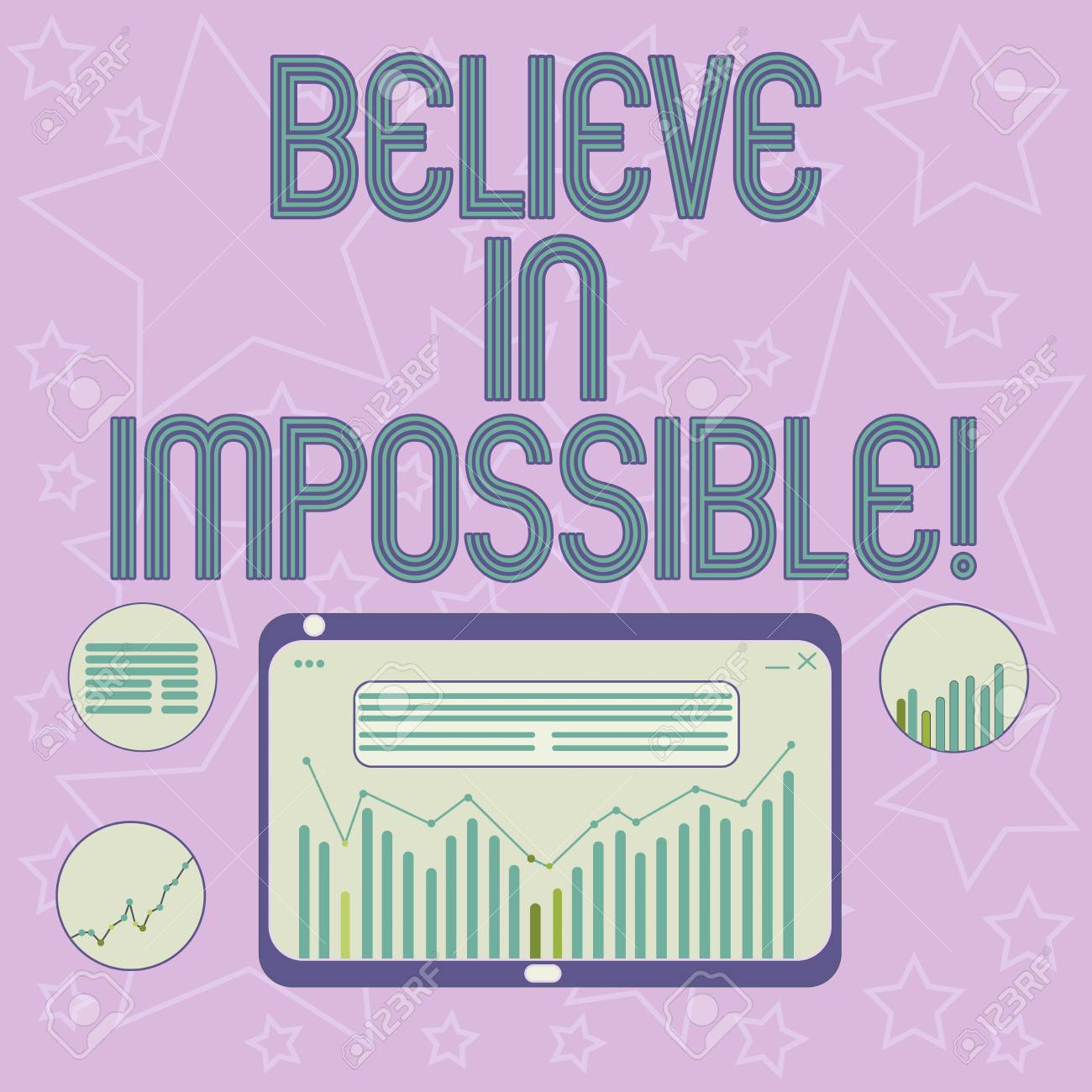 Handwriting text writing Believe In Impossible  Concept meaning