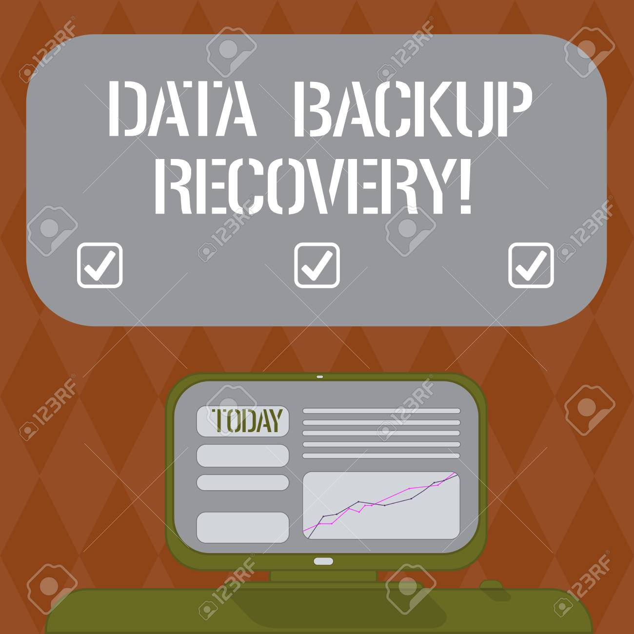 Writing note showing Data Backup Recovery  Business photo showcasing
