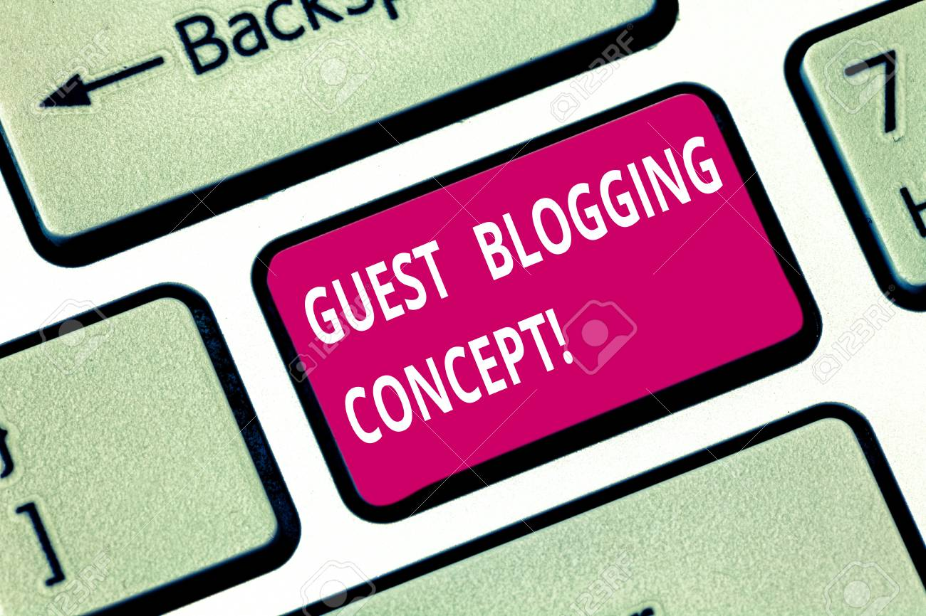 Writing note showing Guest Blogging Concept  Business photo showcasing
