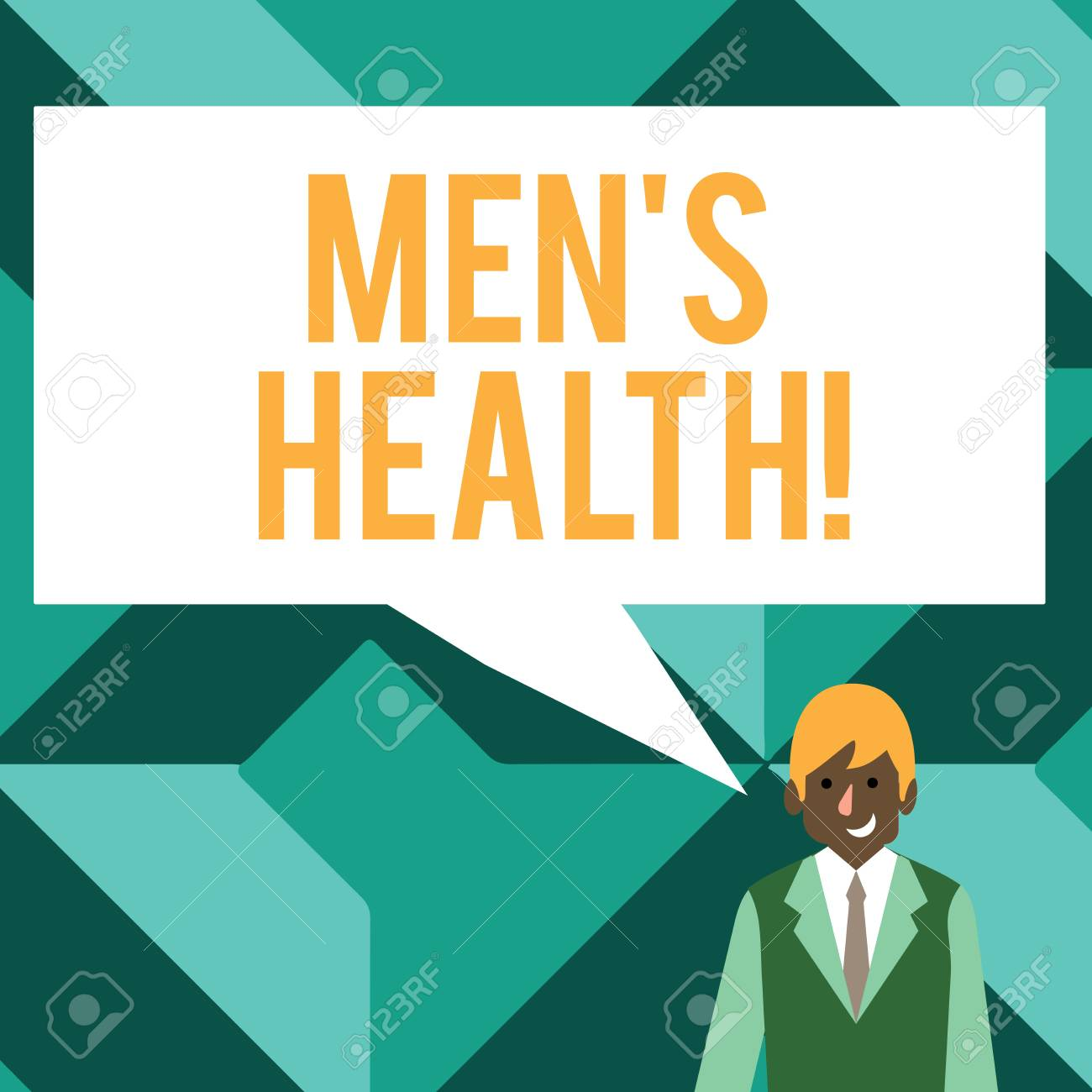 Conceptual hand writing showing Men S Health. Concept meaning state of complete physical mental and social well being by analysis Businessman Smiling and Talking Blank Color Speech Bubble - 119021589