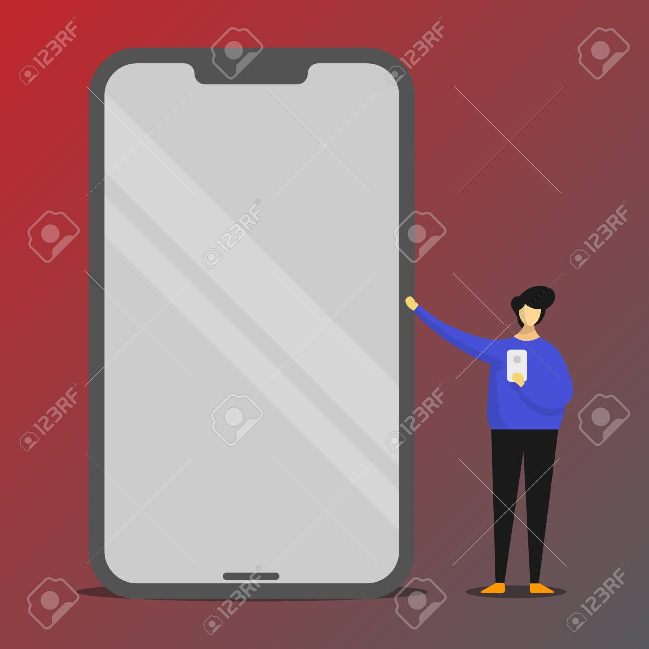 Man Presenting Huge Blank Screen Smartphone While Holding Another