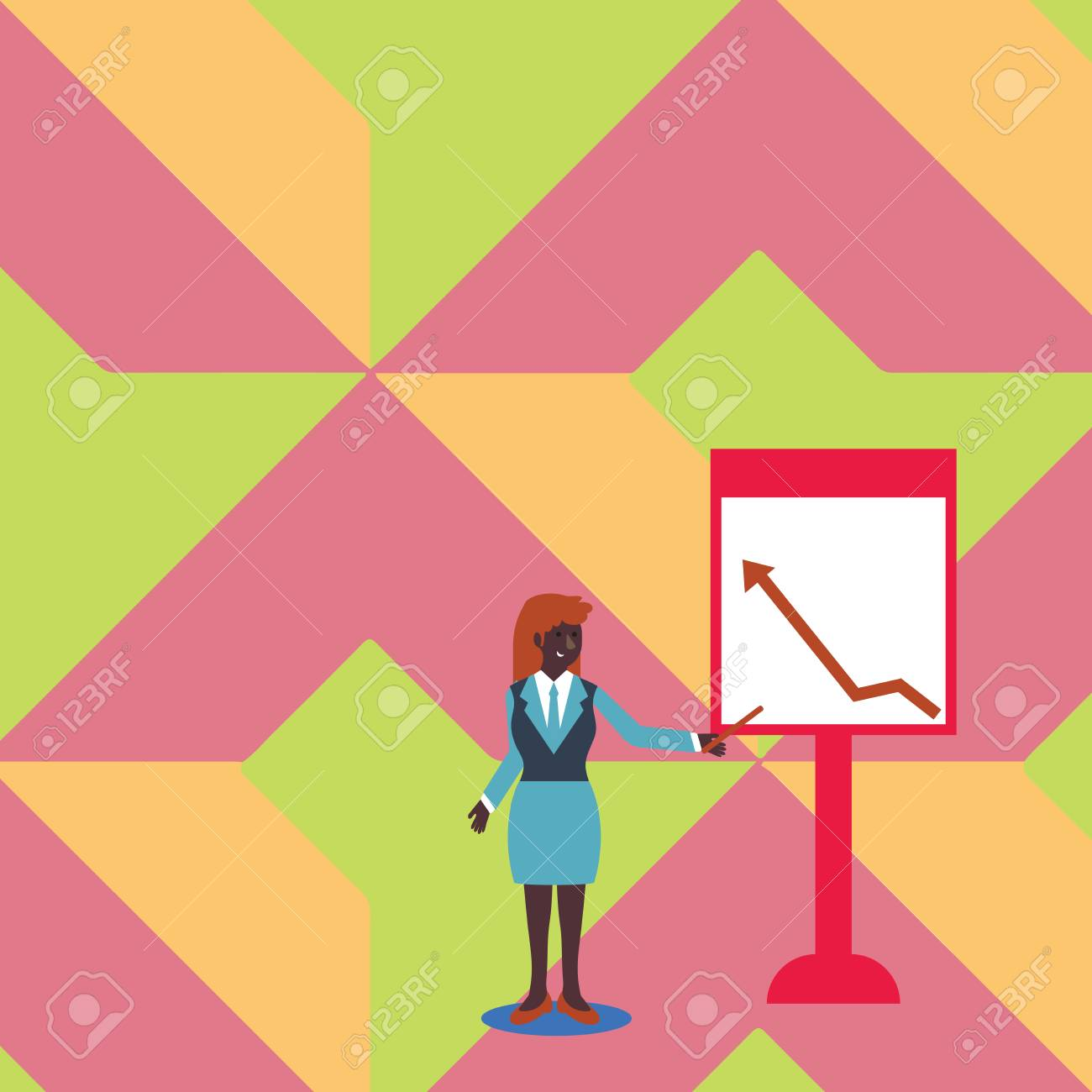 Businesswoman Holding Stick Pointing to Chart of Arrow Upward..