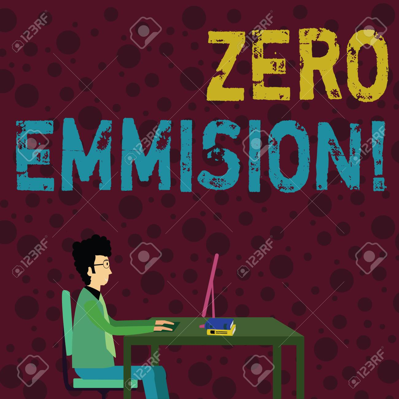 Conceptual Hand Writing Showing Zero Emission Concept Meaning