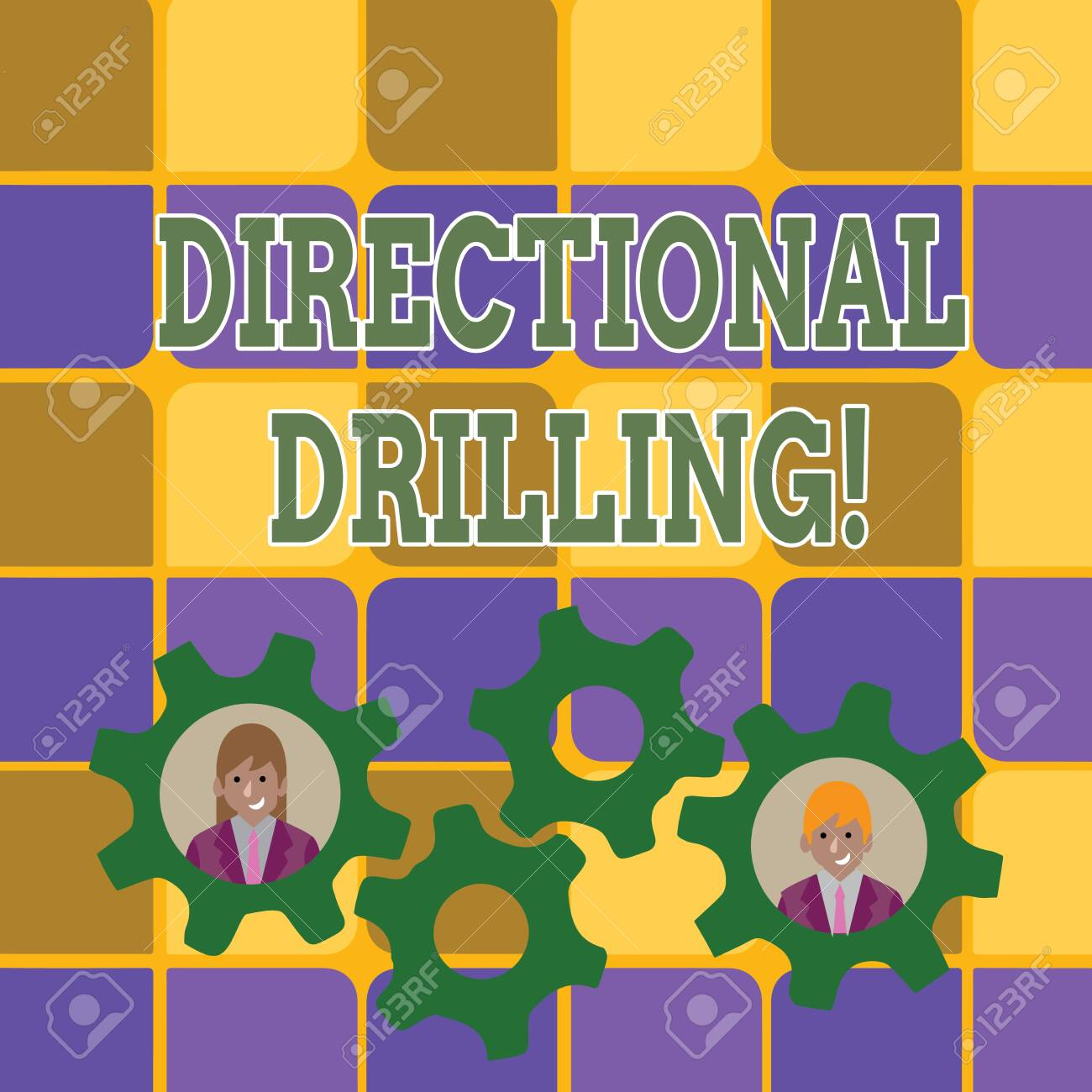 Word writing text Directional Drilling. Business photo showcasing drilling for oil which the well not drilled vertically Two Business People Each Inside Colorful Cog Wheel Gears for Teamwork Event - 120929184