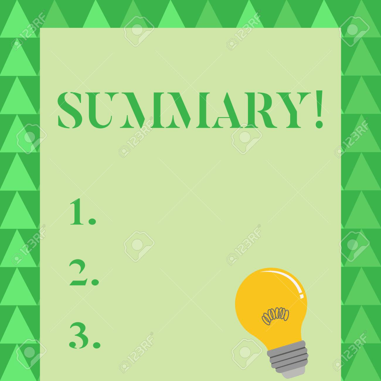 Conceptual hand writing showing Summary. Concept meaning brief statement or account of main points of something subject Light Bulb with Filament Inside Resting on Blank Color Paper - 121172059