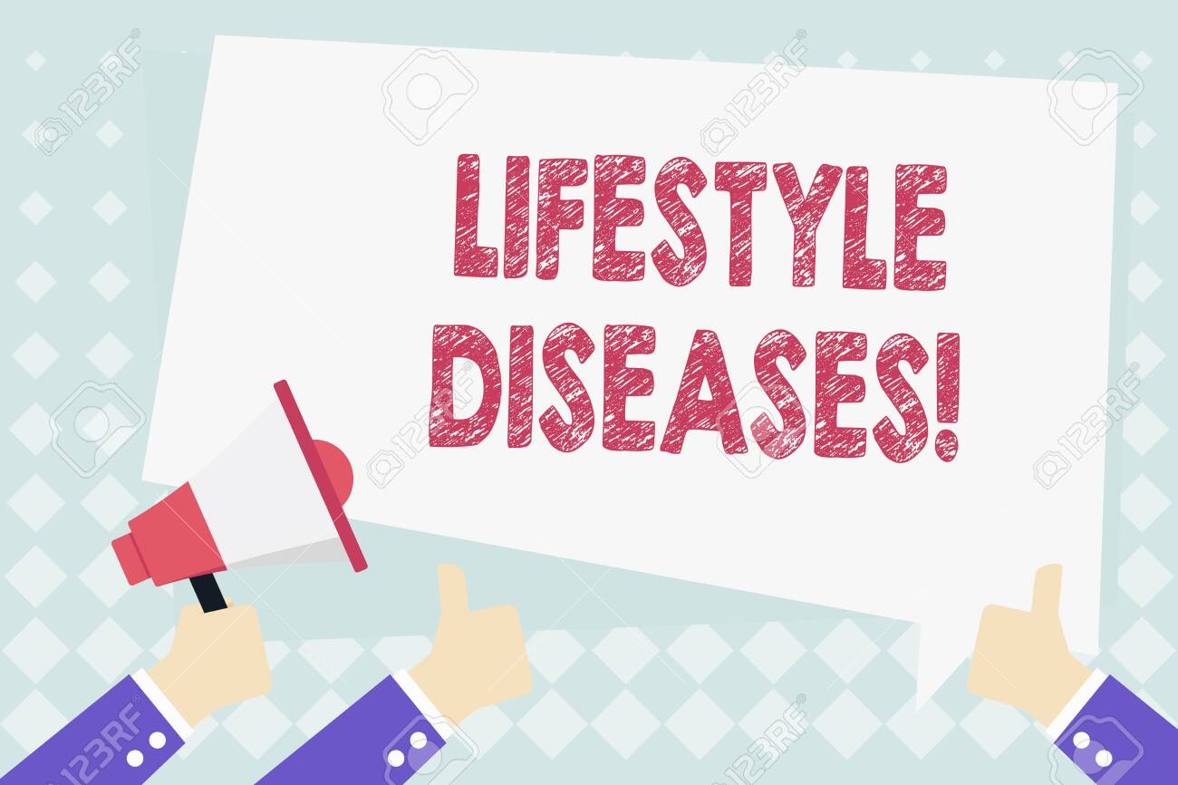 Conceptual hand writing showing Lifestyle Diseases. Concept meaning the disease associated with the way a demonstrating lives Hand Holding Megaphone and Gesturing Thumbs Up Text Balloon - 122033314