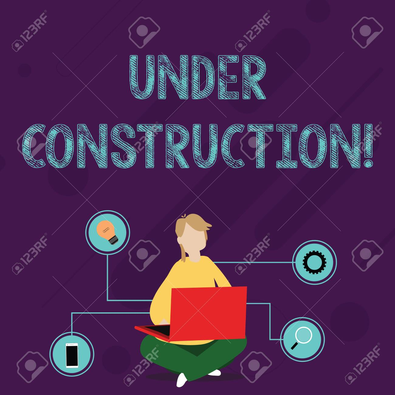Writing note showing Under Construction. Business concept for project that is unfinished but actively being worked on Woman Sitting with Crossed Legs on Floor Browsing the Laptop - 122063357