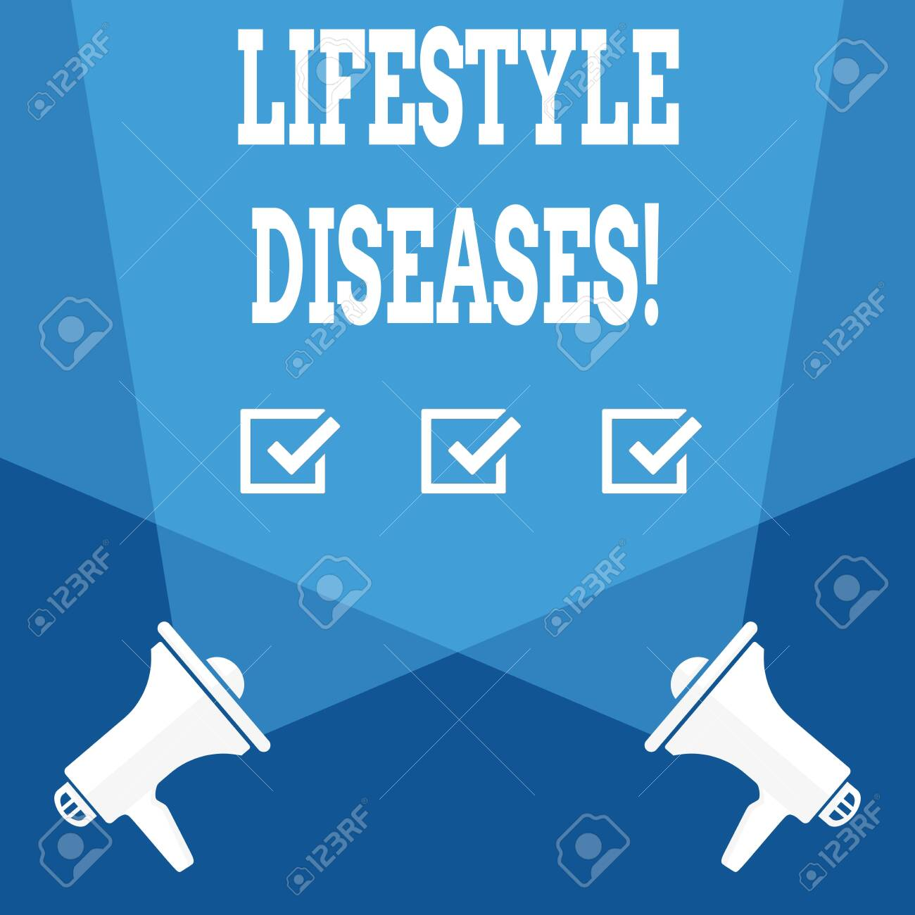 Word writing text Lifestyle Diseases. Business photo showcasing the disease associated with the way a demonstrating lives Blank Double Spotlight Crisscrossing Upward from Two Megaphones on the Floor - 122098180