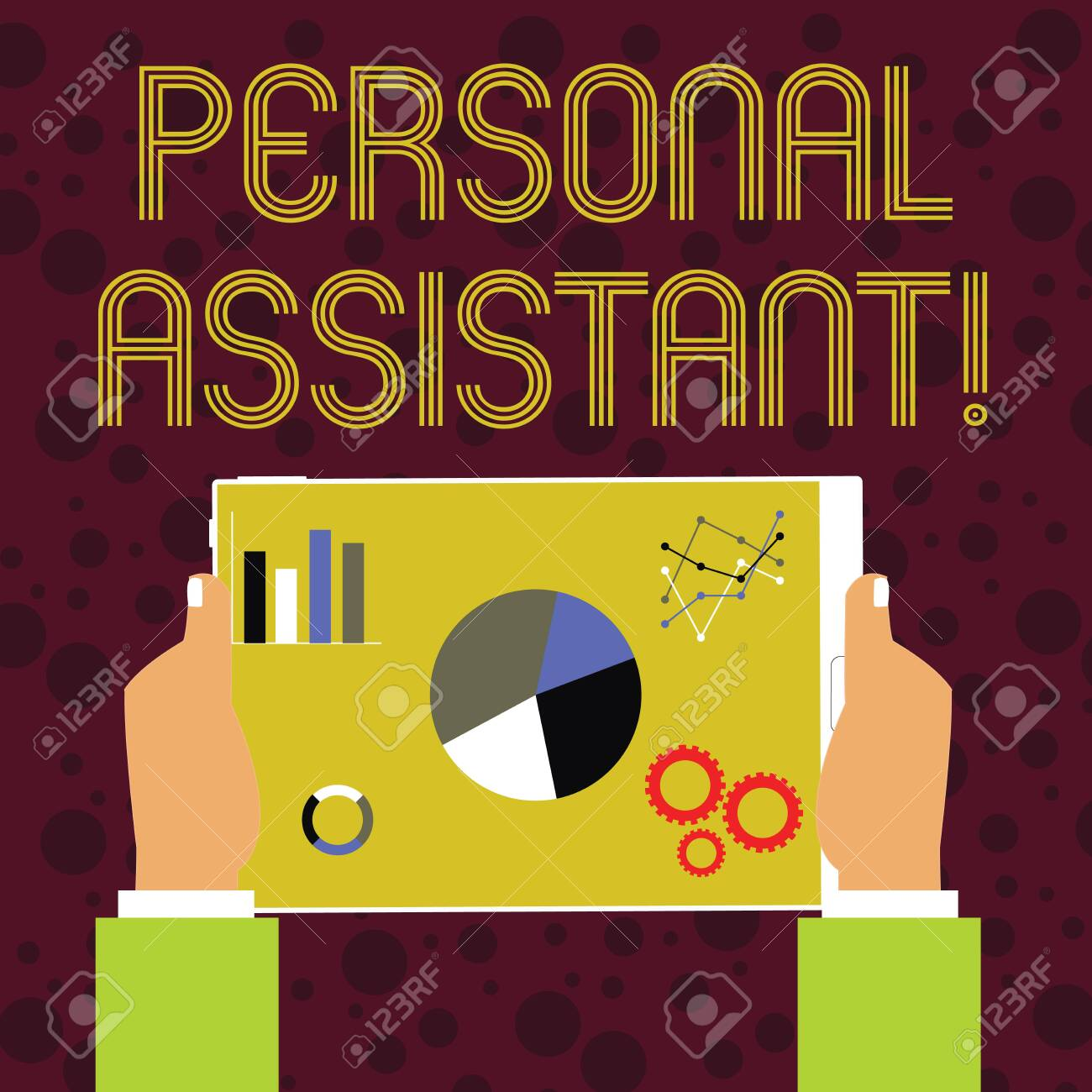 Word writing text Personal Assistant. Business photo showcasing administrative assistant working exclusively for a demonstrating Hands Holding Tablet with Search Engine Optimization Driver Icons on Screen - 122102945