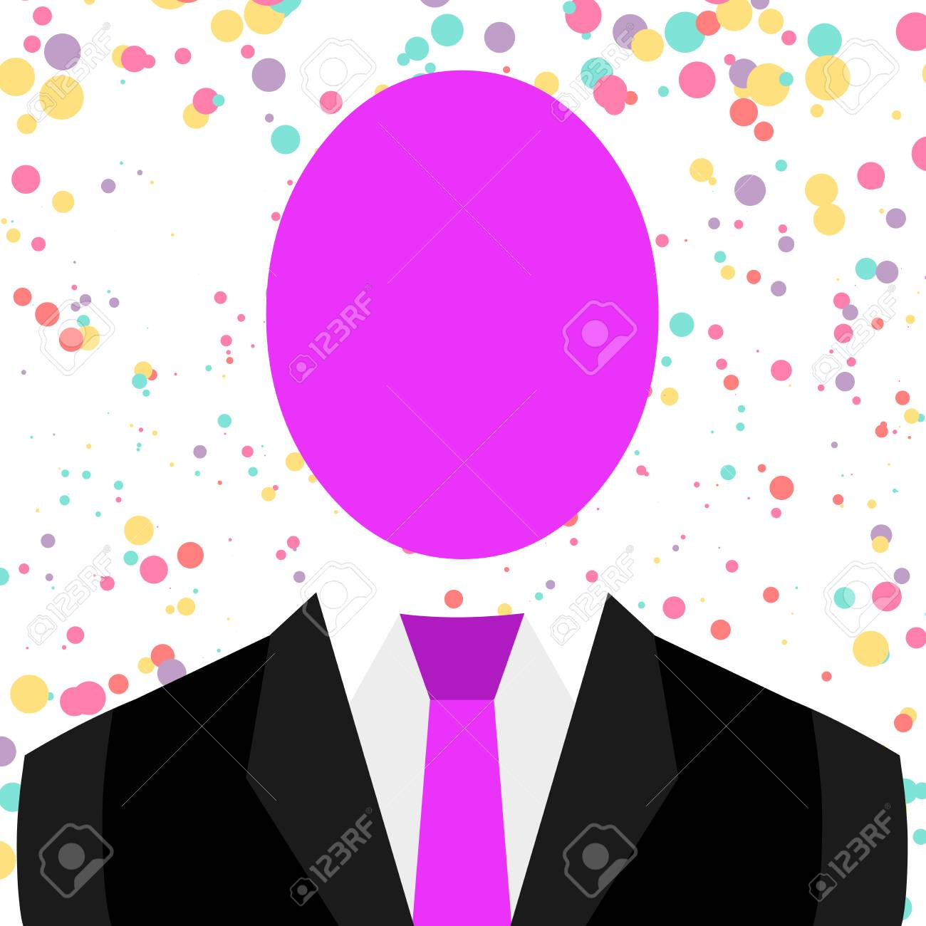 Symbolic Drawing Emblematic Figure of Man Formal Suit Oval Faceless