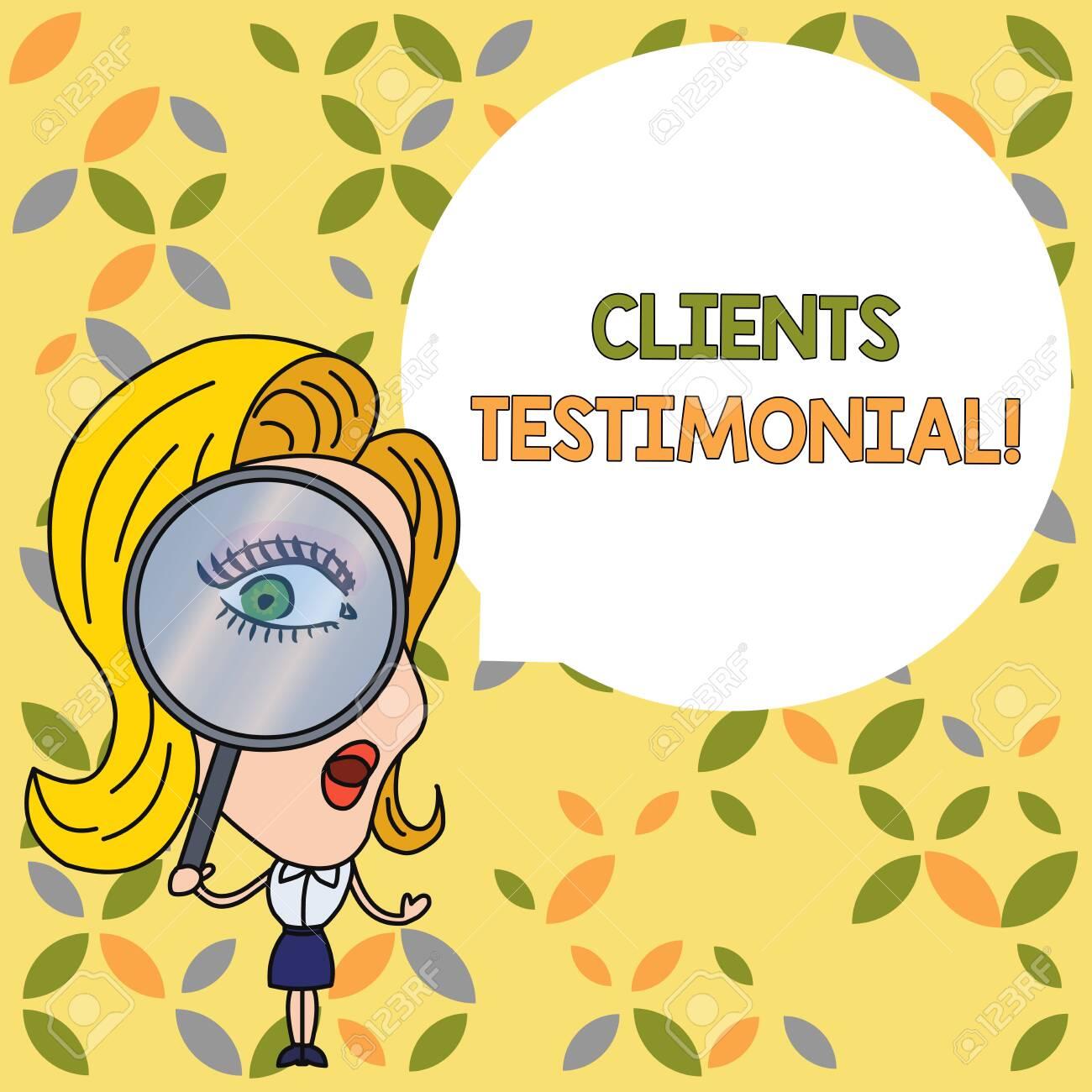 Handwriting text Clients Testimonial  Conceptual photo Formal