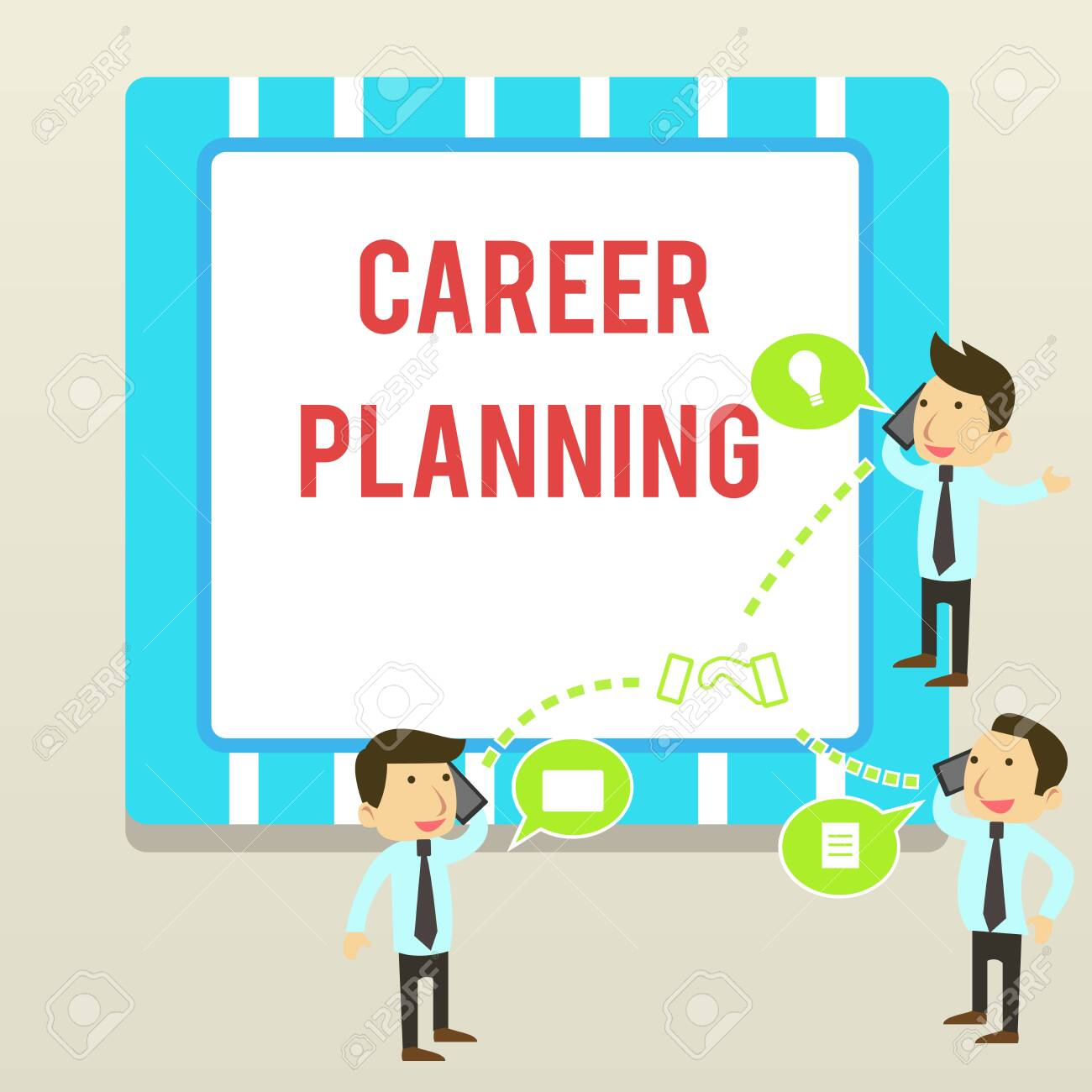 Word writing text Career Planning. Business photo showcasing Strategically plan your career goals and work success Businessmen Coworkers Conference Call Conversation Discussion Mobile Phones - 124652921