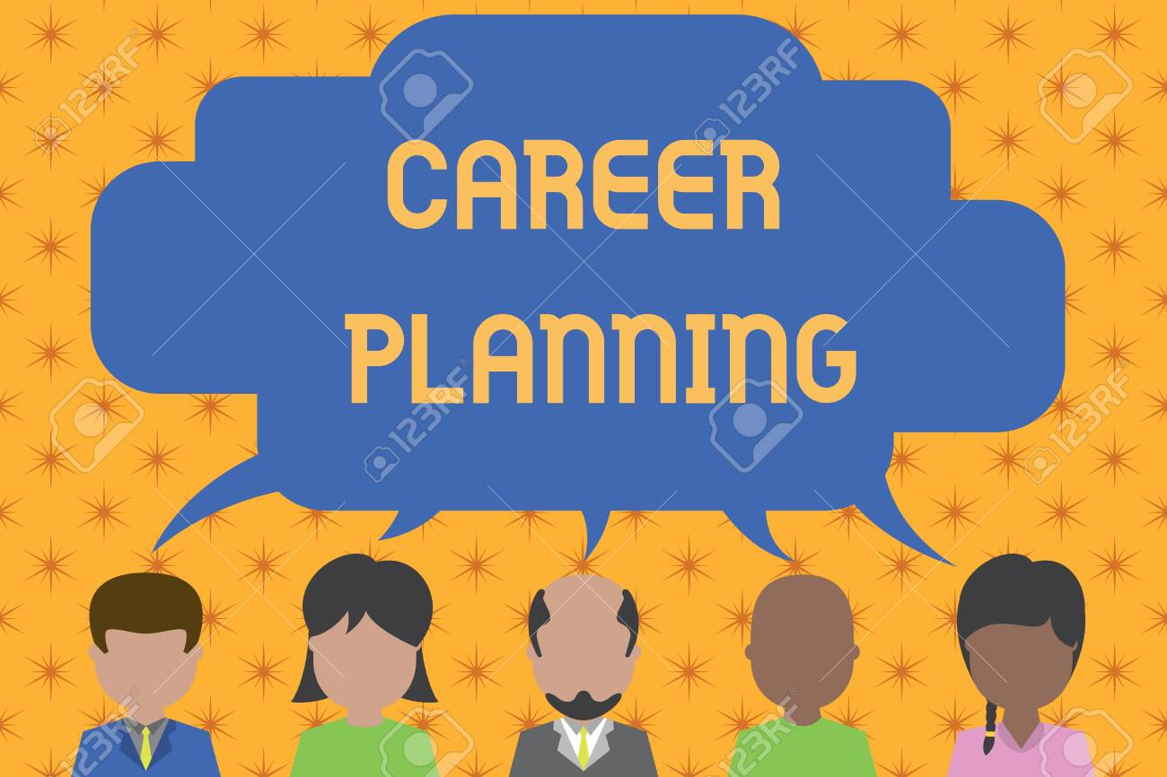 Word writing text Career Planning. Business photo showcasing Strategically plan your career goals and work success Five different races persons sharing blank speech bubble. People talking - 124655807