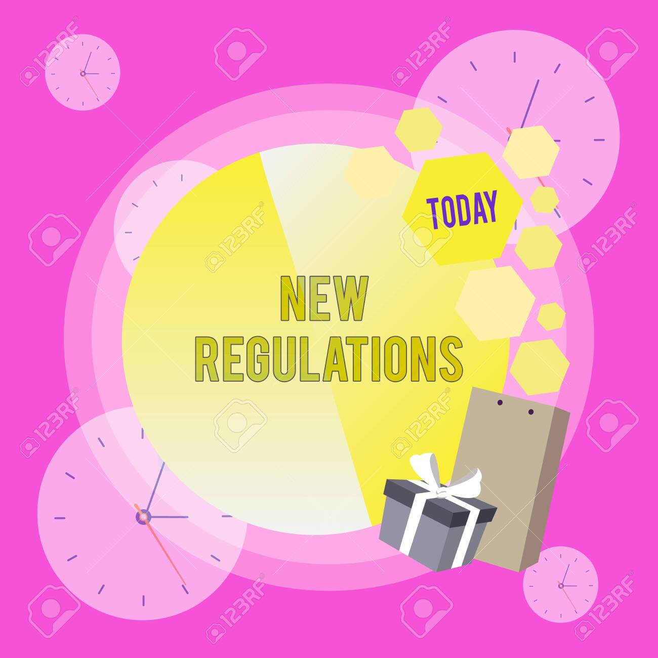 Conceptual hand writing showing New Regulations. Concept meaning Regulation controlling the activity usually used by rules. Greeting Card Poster Gift Package Box Decorated by Bowknot - 124656909