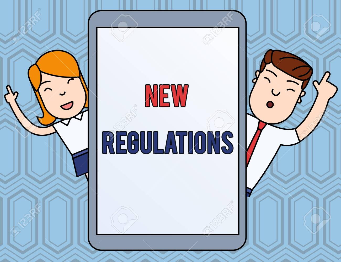 Text sign showing New Regulations. Business photo text Regulation controlling the activity usually used by rules. Male and Female Index Fingers Up Touch Screen Tablet Smartphone Device - 124657016