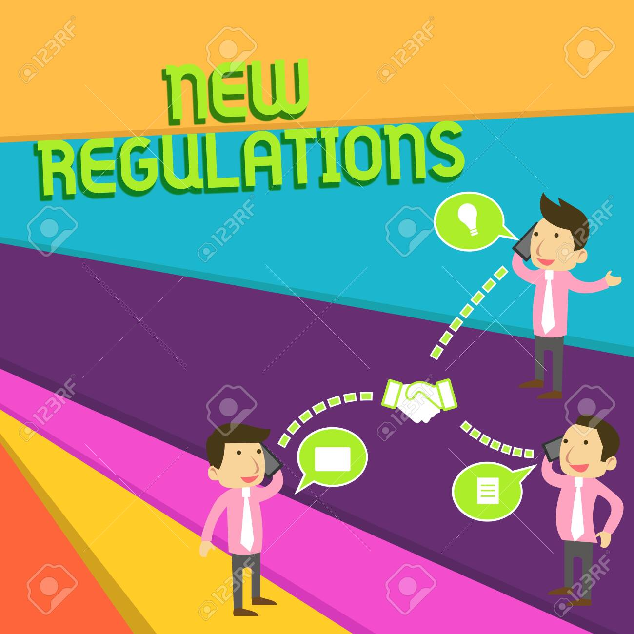 Handwriting text New Regulations. Conceptual photo Regulation controlling the activity usually used by rules. Businessmen Coworkers Conference Call Conversation Discussion Mobile Phones - 124656715