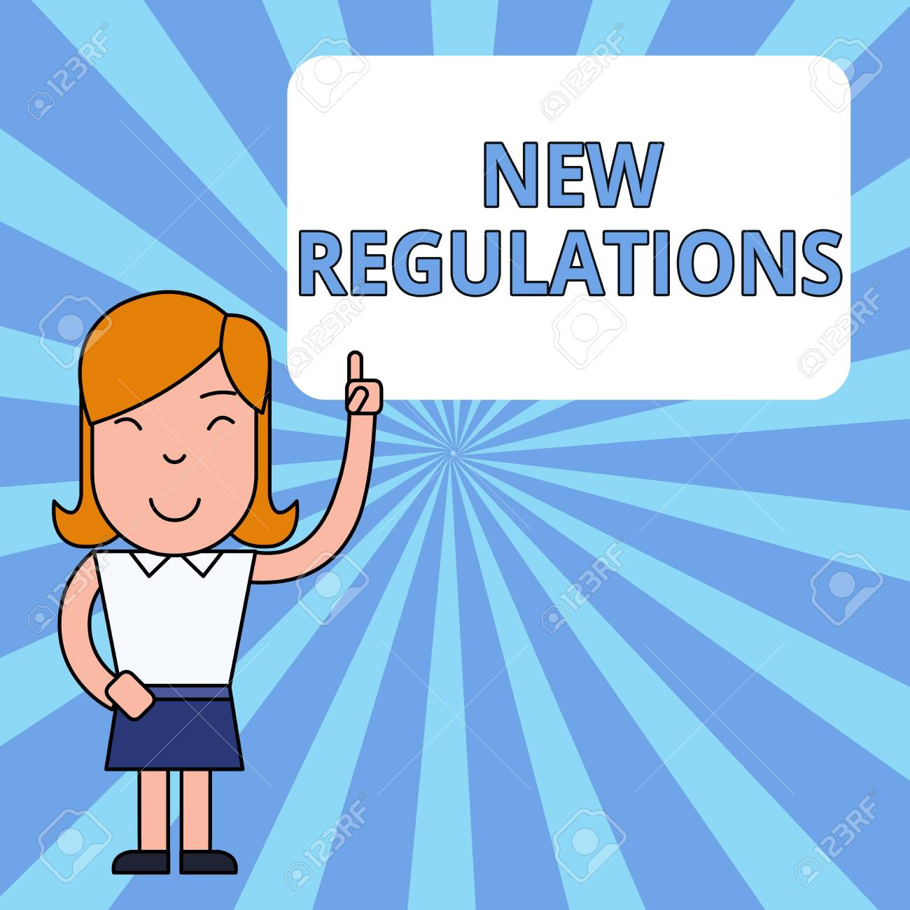 Writing note showing New Regulations. Business concept for Regulation controlling the activity usually used by rules. Woman Standing with Raised Left Index Finger Pointing at Blank Text Box - 124895785